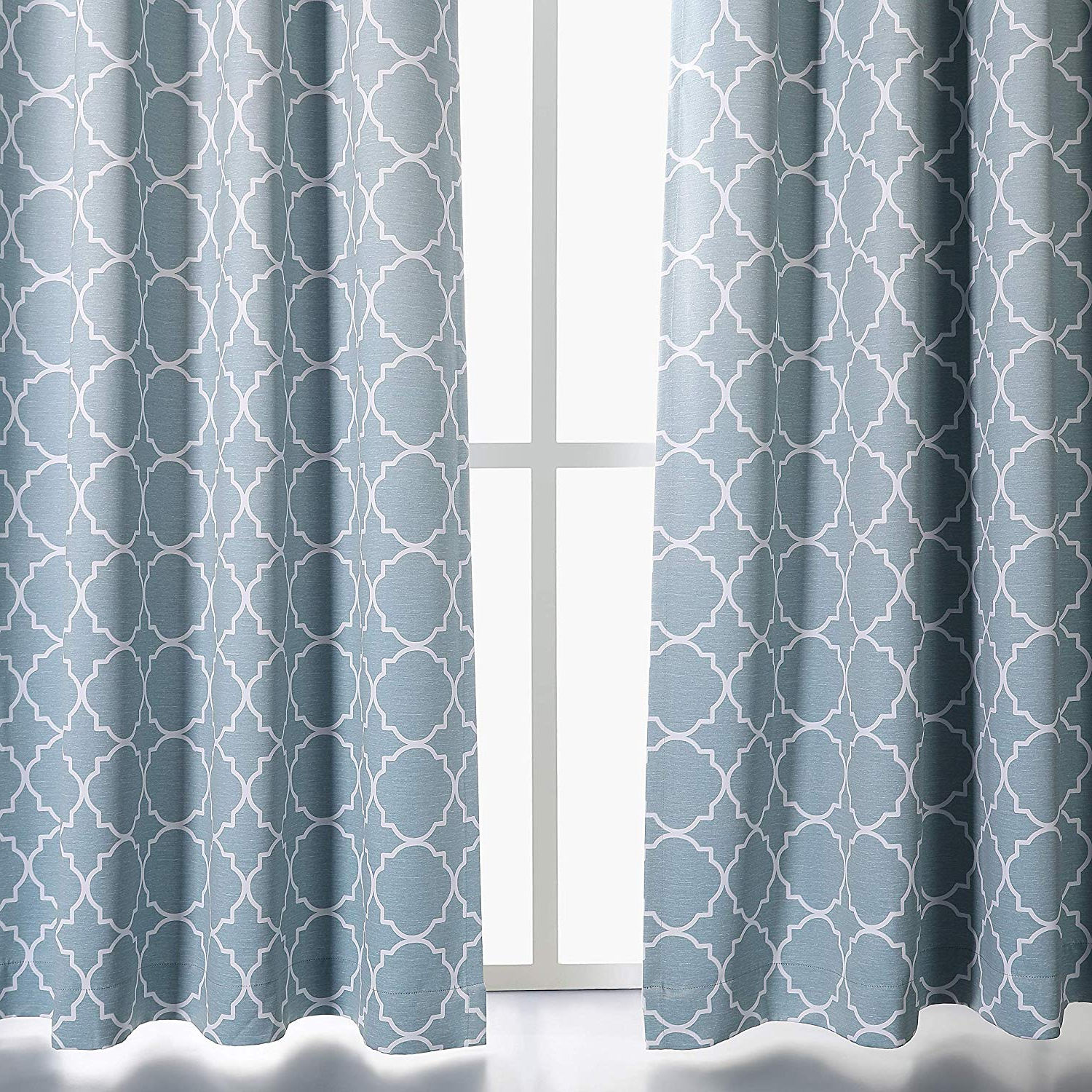 "Moroccan Style Thermal Insulated Blackout Curtain Panel Pairs With Most Recent Mysky Home Grommet Thermal Insulated Blackout Curtains For Bedroom Lattice Moroccan Tile Print Window Treatment Set For Living Room, Aqua, 52"" W X 63"" (Gallery 14 of 20)"