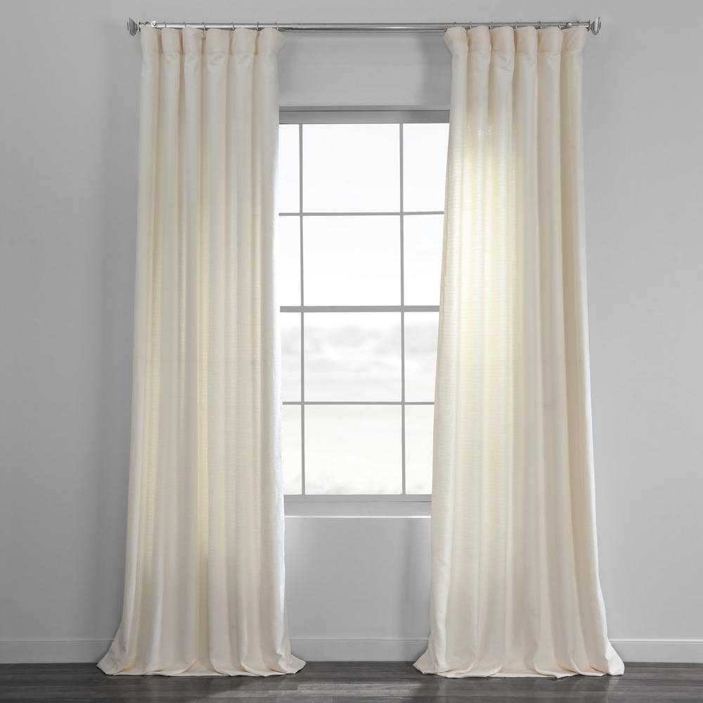 Most Current Bark Weave Solid Cotton Curtains Pertaining To Exclusive Fabrics & Furnishings Pale Bark Weave Solid Cotton Curtain In  Ivory – 50 In. W X 96 In. L (Gallery 4 of 20)