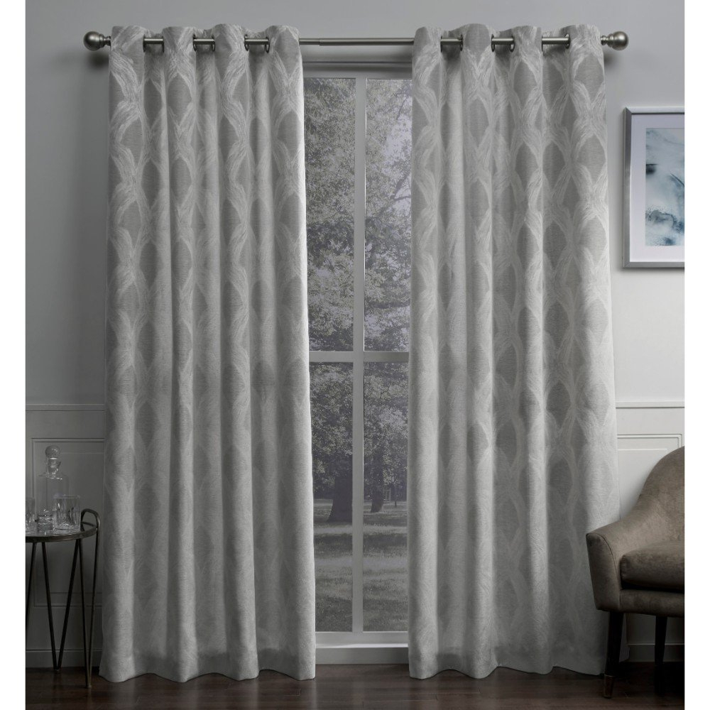 Most Current Baroque Linen Grommet Top Curtain Panel Pairs With Exclusive Home Curtains Dorado Geometric Textured Linen Jacquard Window  Curtain Panel Pair With Grommet Top, 54X84, Ash Grey, 2 Piece (Gallery 11 of 20)