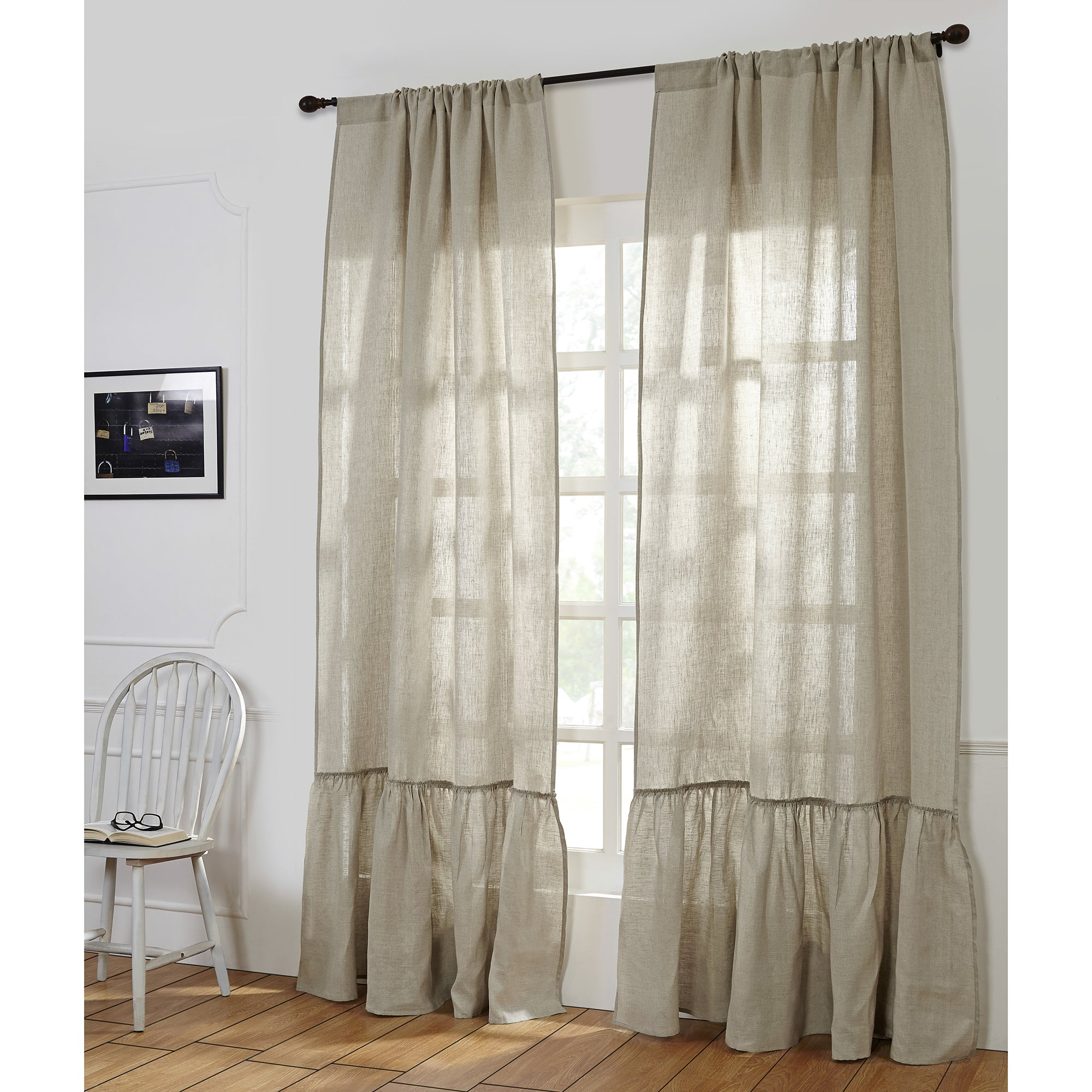 Most Current Camille Linen Ruffled Window Curtain Panel (Single) In Linen Button Window Curtains Single Panel (View 14 of 20)