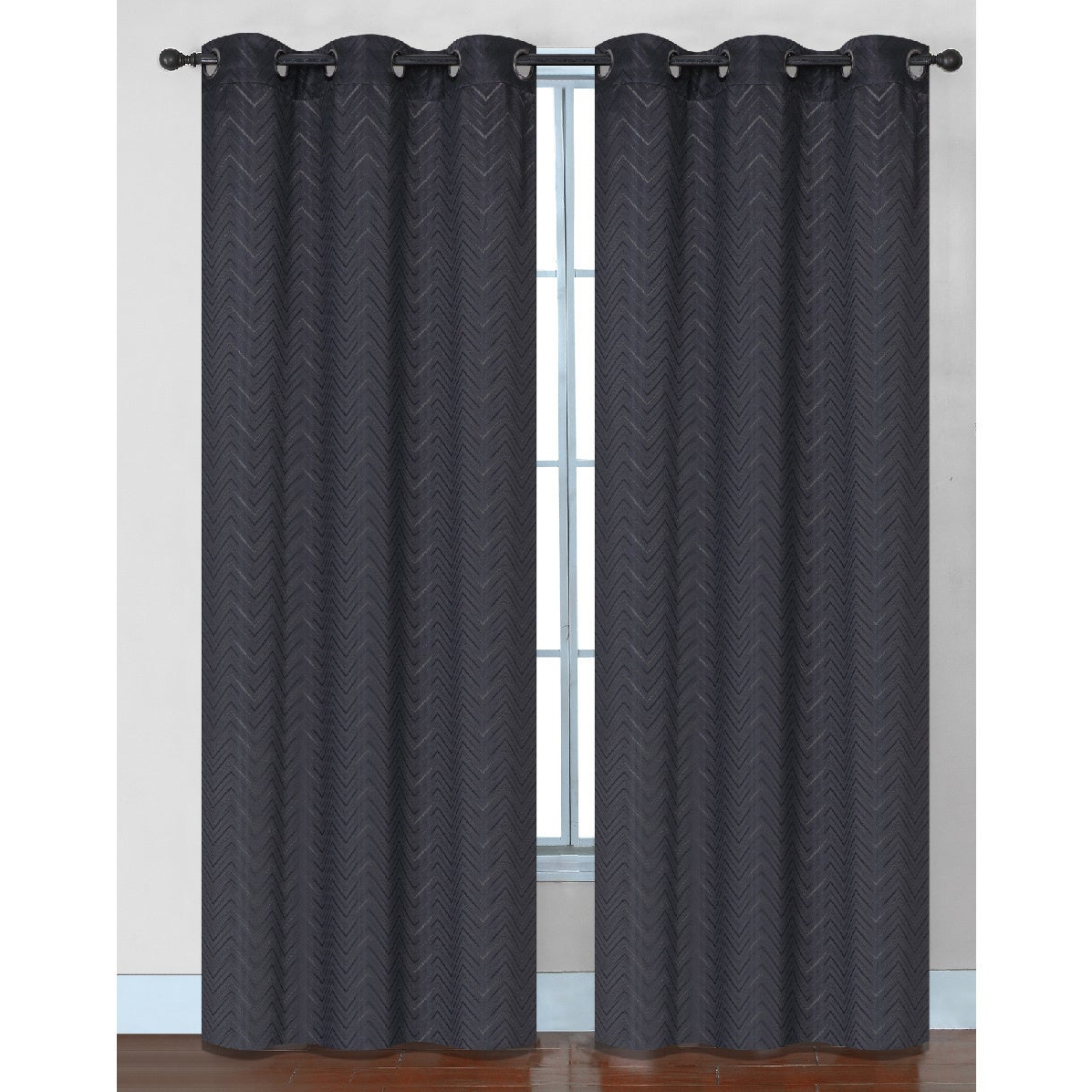 Most Current Chevron Blackout Grommet Curtain Panels For Chevron Faux Silk Blackout Grommet Top 84 Inch Curtain Panel Pair – 76 X (View 8 of 20)