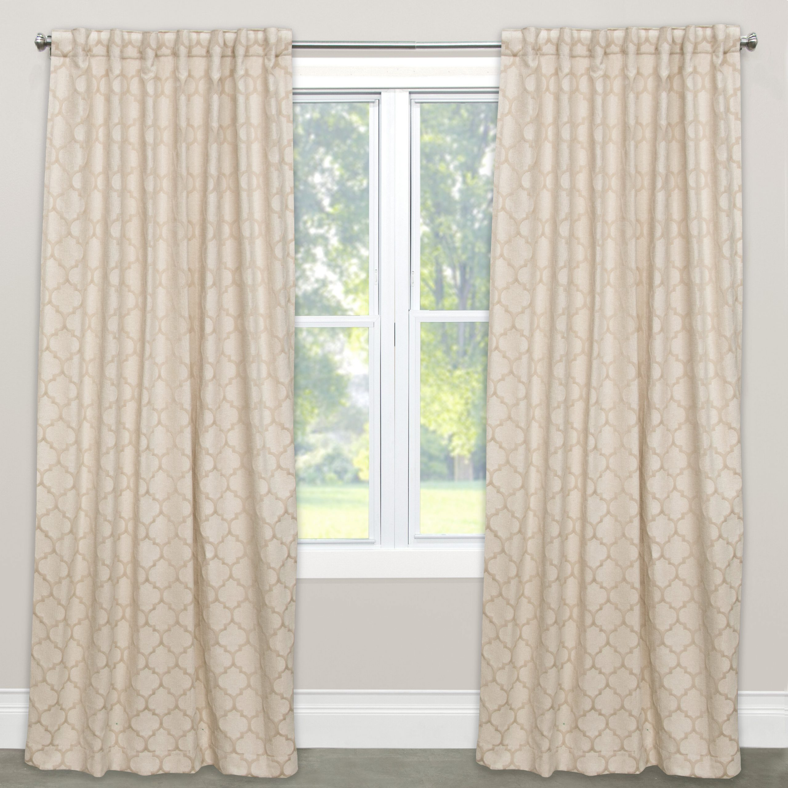 Most Current Cyrus Thermal Blackout Back Tab Curtain Panels Within Geometric Semi Sheer Rod Pocket Single Curtain Panel (Gallery 20 of 20)
