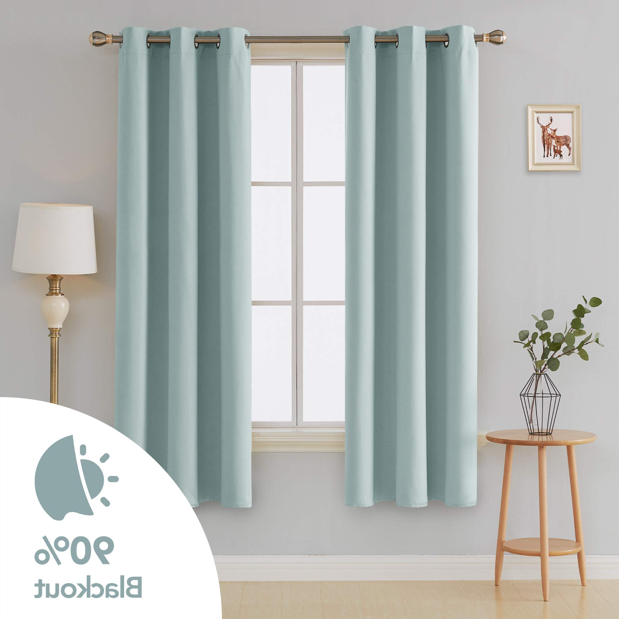 Most Current Deconovo Room Darkening Thermal Insulated Blackout Grommet Window Curtain Panel For Bedroom Room Skyblue 42X84 Inch 1 Pair Inside Insulated Blackout Grommet Window Curtain Panel Pairs (Gallery 13 of 20)