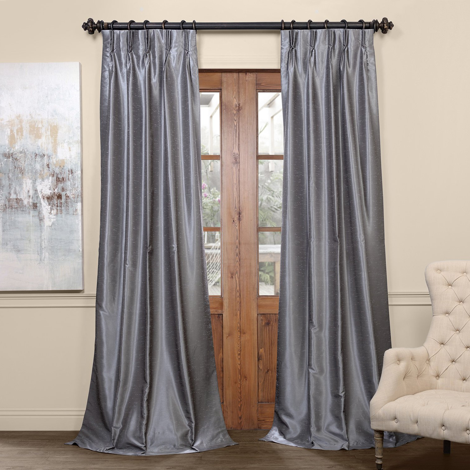 Most Current Details About Pdch Kbs7Bo 96 Fp Pleated Blackout Vintage Textured Faux  Dupioni Silk Curtain, For Storm Grey Vintage Faux Textured Dupioni Single Silk Curtain Panels (View 6 of 20)