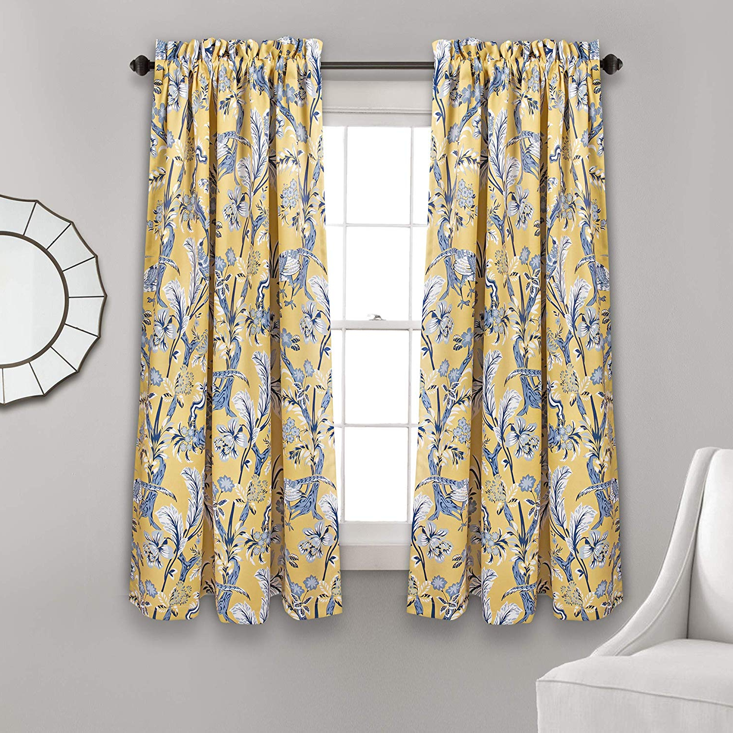 """Most Current Dolores Room Darkening Floral Curtain Panel Pairs Throughout Lush Decor Curtains Dolores Darkening Window Panel Set For Living, Dining Room, Bedroom (pair), 63"""" X 52"""", Yellow And Blue, 63"""" L (View 9 of 20)"""