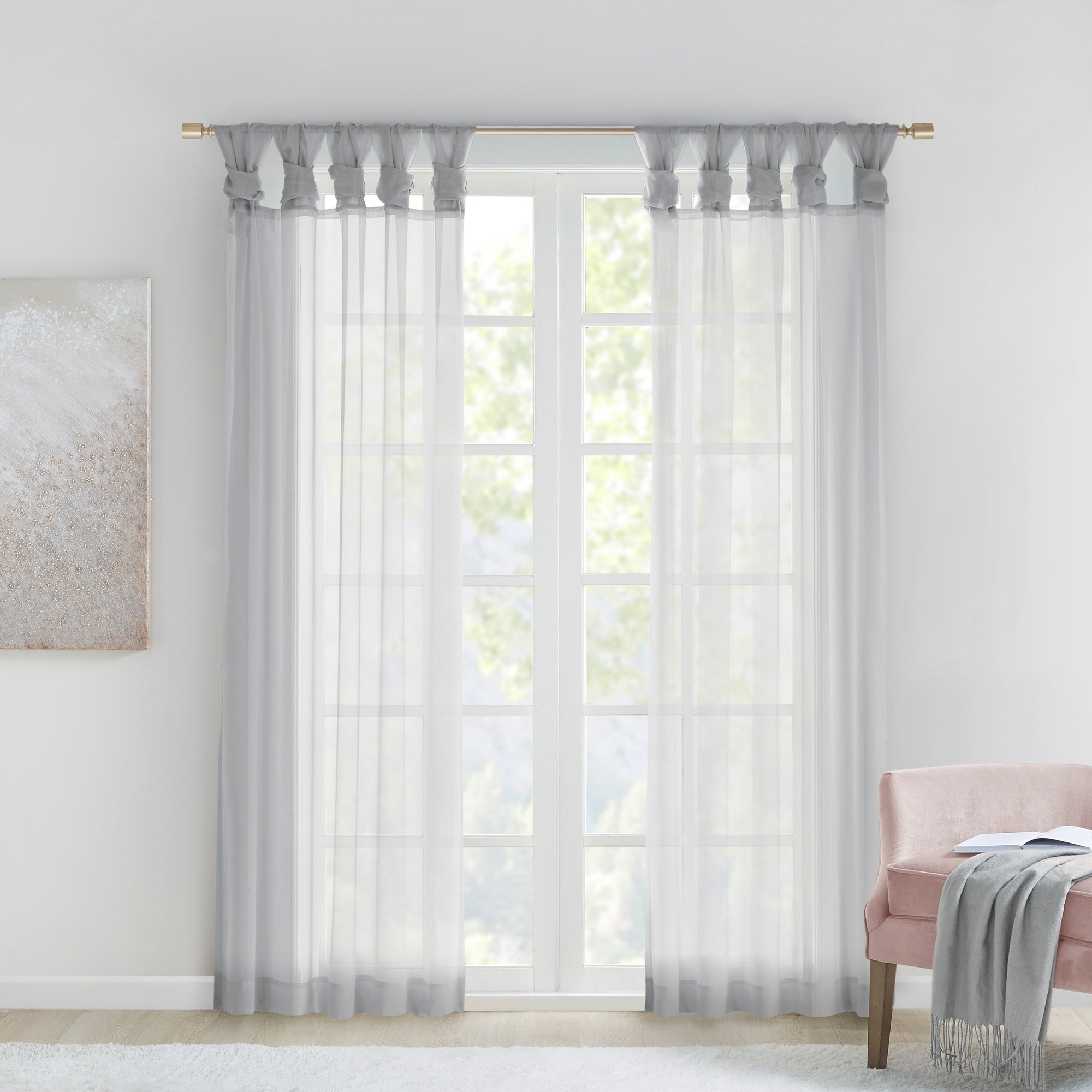 Most Current Elowen White Twist Tab Voile Sheer Curtain Panel Pairs With Madison Park Elowen White Twist Tab Voile Sheer Curtain Panel Pair (Gallery 11 of 20)