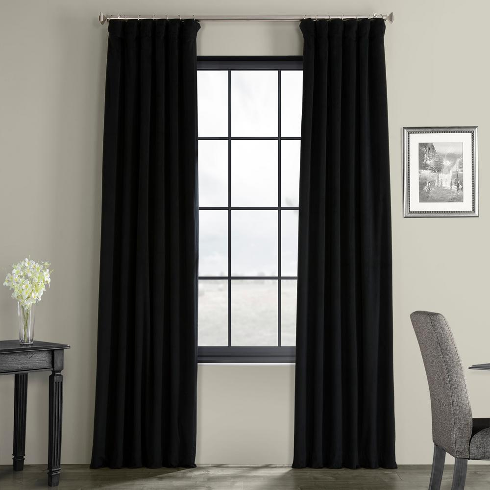 Most Current Exclusive Fabrics & Furnishings Blackout Signature Warm Black Blackout Velvet Curtain – 50 In. W X 120 In (View 4 of 20)