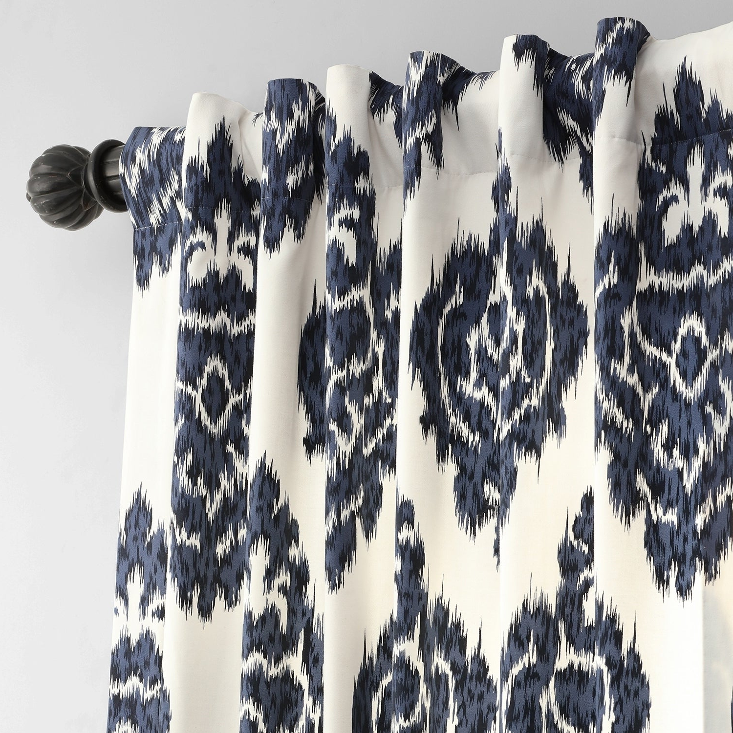 Most Current Exclusive Fabrics Ikat Blue Printed Cotton Curtain Panel Within Ikat Blue Printed Cotton Curtain Panels (View 14 of 20)