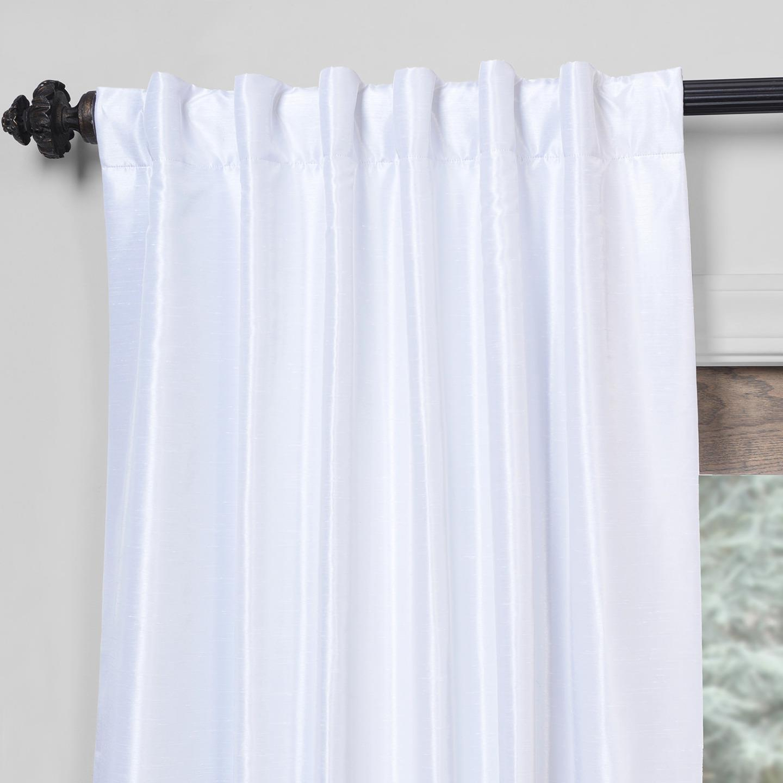 "Most Current Exclusive Fabrics True Blackout Vintage Textured Faux Dupioni Silk Curtain Panel In 108""l In Off White (As Is) In True Blackout Vintage Textured Faux Silk Curtain Panels (View 9 of 20)"
