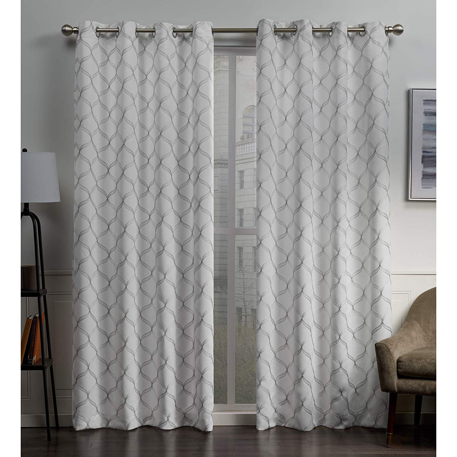 Most Current Exclusive Home Curtains Amelia Embroidered Woven Blackout Grommet Top Curtain Panel Pair, 52x96, Winter Inside Woven Blackout Grommet Top Curtain Panel Pairs (View 4 of 20)