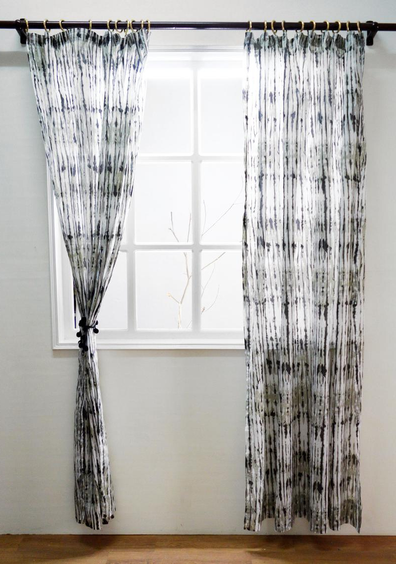 Most Current Grey Printed Curtain Panels For Grey Shibori Print Curtain Panel, Cotton Voile, Printed, Sheer Drape, Sizes Available (Gallery 9 of 20)