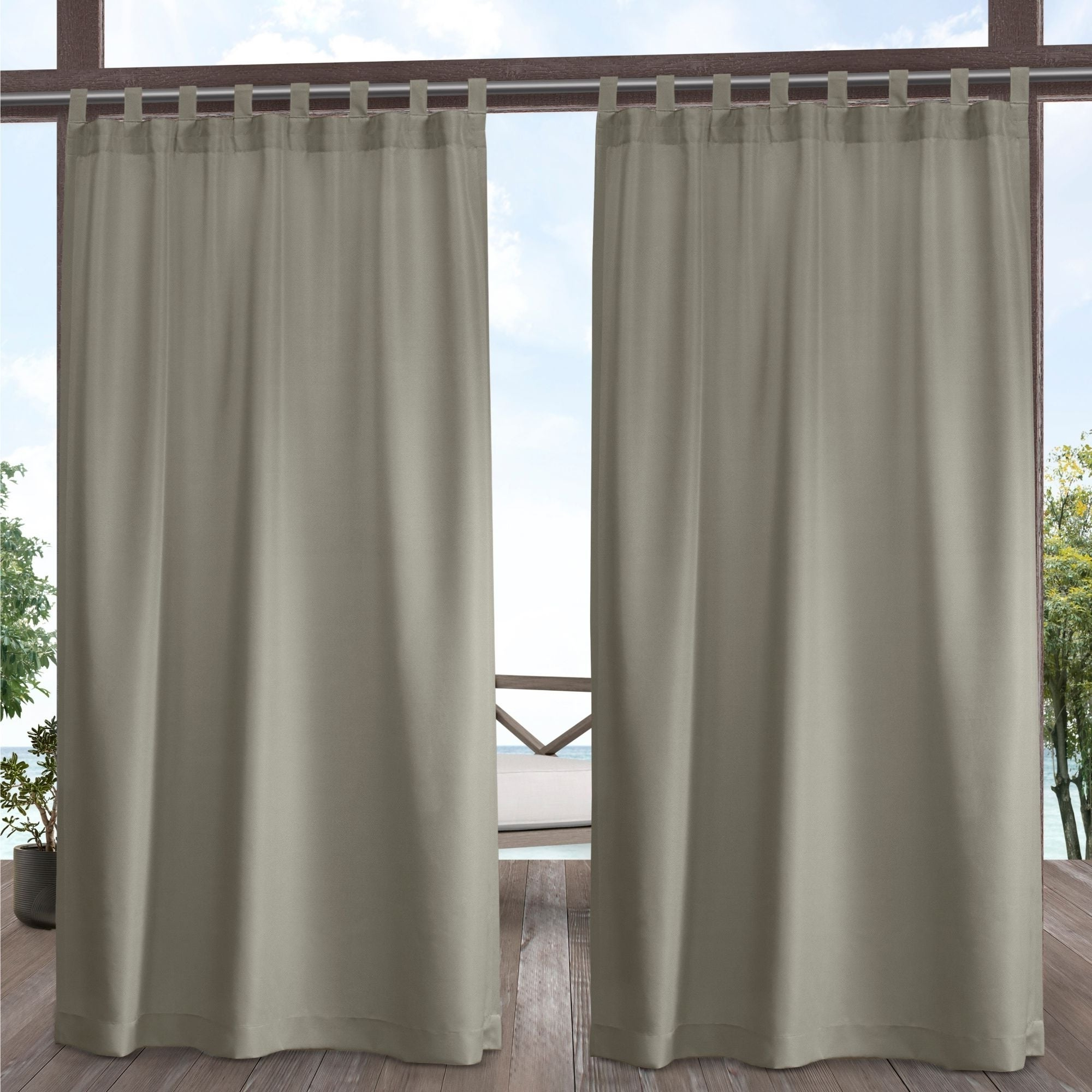 Most Current Indoor/outdoor Solid Cabana Grommet Top Curtain Panel Pairs For Ati Home Indoor/outdoor Solid Cabana Tab Top Window Curtain Panel Pair (View 6 of 20)