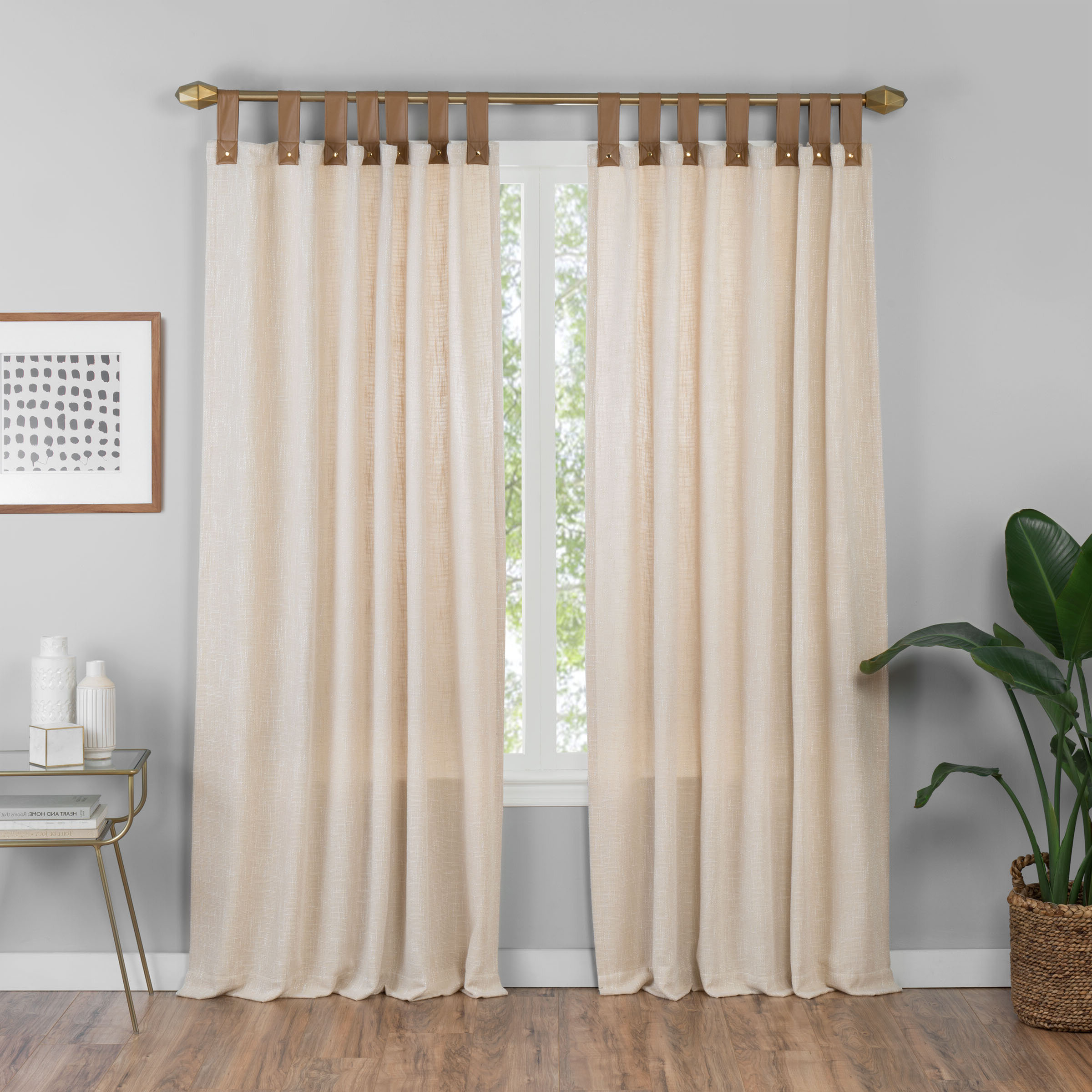 Most Current Kaufman Solid Semi Sheer Tab Top Single Curtain Panel Intended For Tab Top Sheer Single Curtain Panels (View 18 of 20)