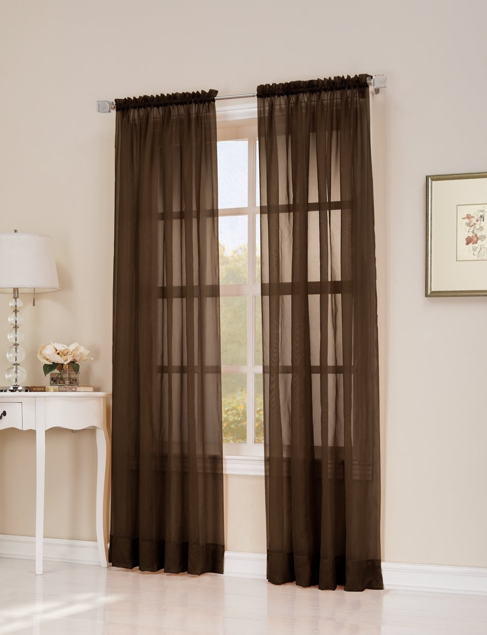 """Most Current Lichtenberg No. 918 Emily Solid Voile Pair Of Rod Pocket 59"""" X 84"""" Panels Chocolate Intended For Emily Sheer Voile Grommet Curtain Panels (Gallery 20 of 20)"""