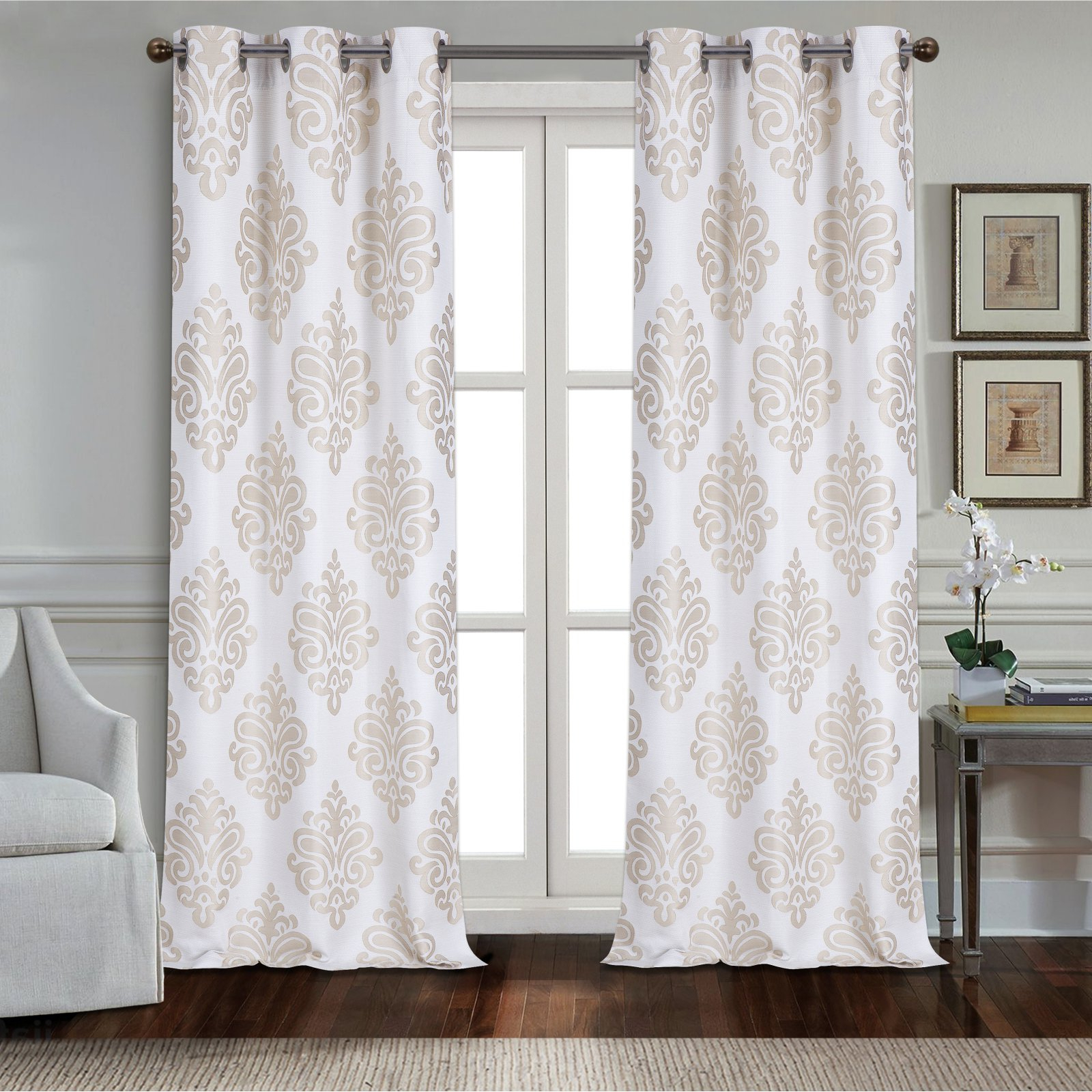 Most Current Lydia Ruffle Window Curtain Panel Pairs In Dainty Home Marquise Textured Applique Grommet Window (View 10 of 20)