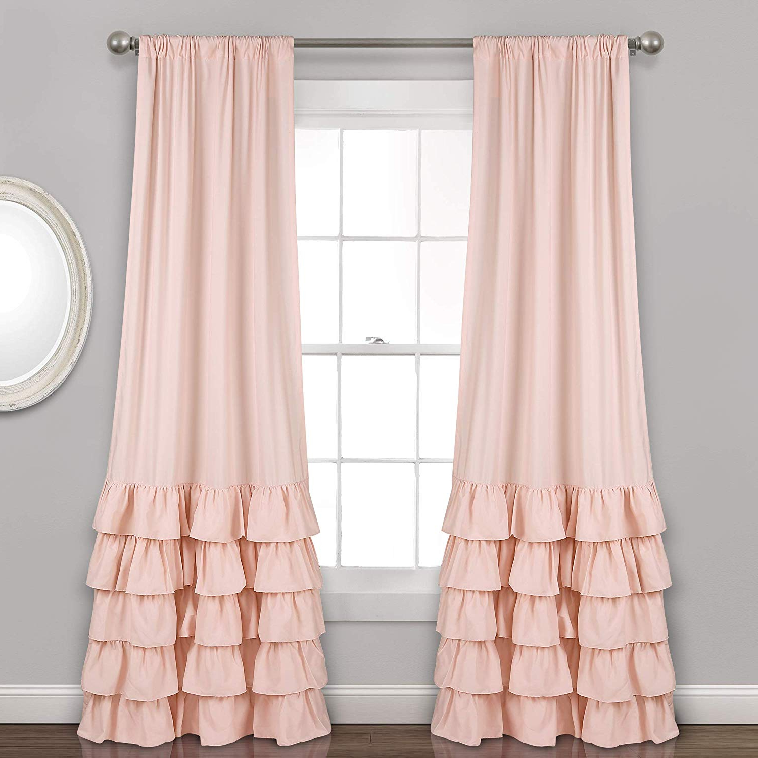"Most Current Lydia Ruffle Window Curtain Panel Pairs Regarding Lush Decor Allison Ruffle Curtains Window Panel Set For Living, Dining Room, Bedroom (Pair), 84"" X 40"", Blush (View 7 of 20)"