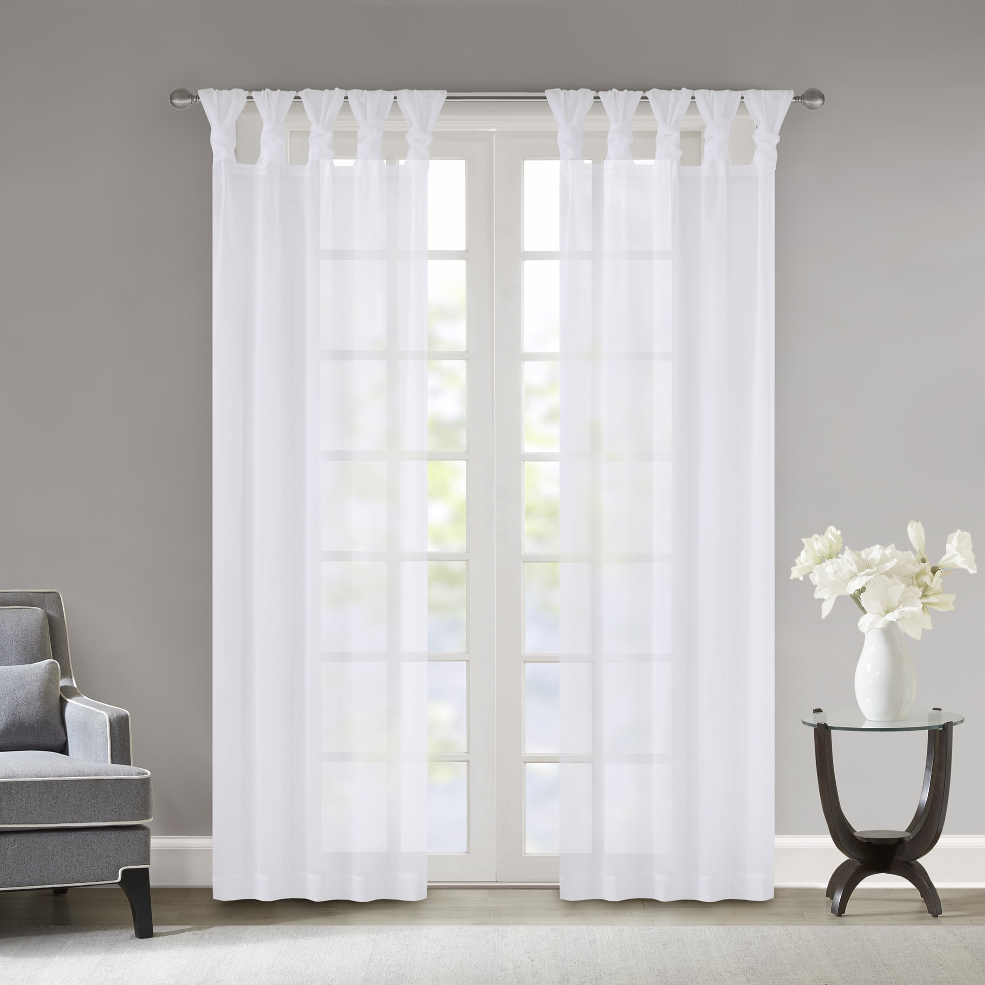 Most Current Madison Park Elowen White Twisted Tab Voile Sheer Curtain With Regard To Elowen White Twist Tab Voile Sheer Curtain Panel Pairs (Gallery 8 of 20)