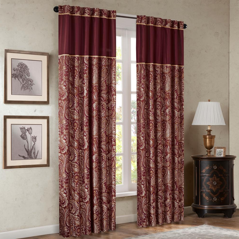 Most Current Madison Park Whitman Burgundy Room Darkening Curtain 50 In. X 95 In (View 3 of 20)