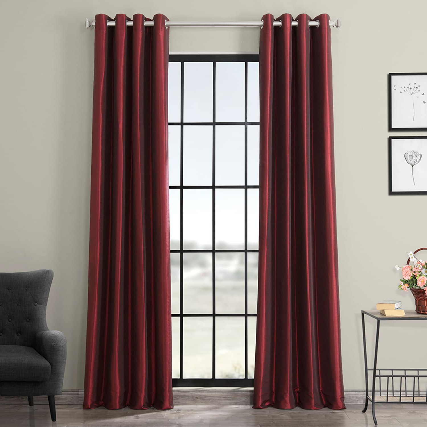 Most Current Off White Vintage Faux Textured Silk Curtains With Ruby Grommet Blackout Vintage Textured Faux Dupioni Silk Curtain (View 12 of 20)