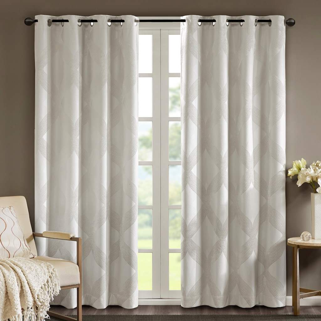 Most Current Sunsmart Abel Ogee Knitted Jacquard Total Blackout Curtain Panels With Regard To Sunsmart Abel Ogee Knitted Jacquard Total Blackout Curtain (View 6 of 20)