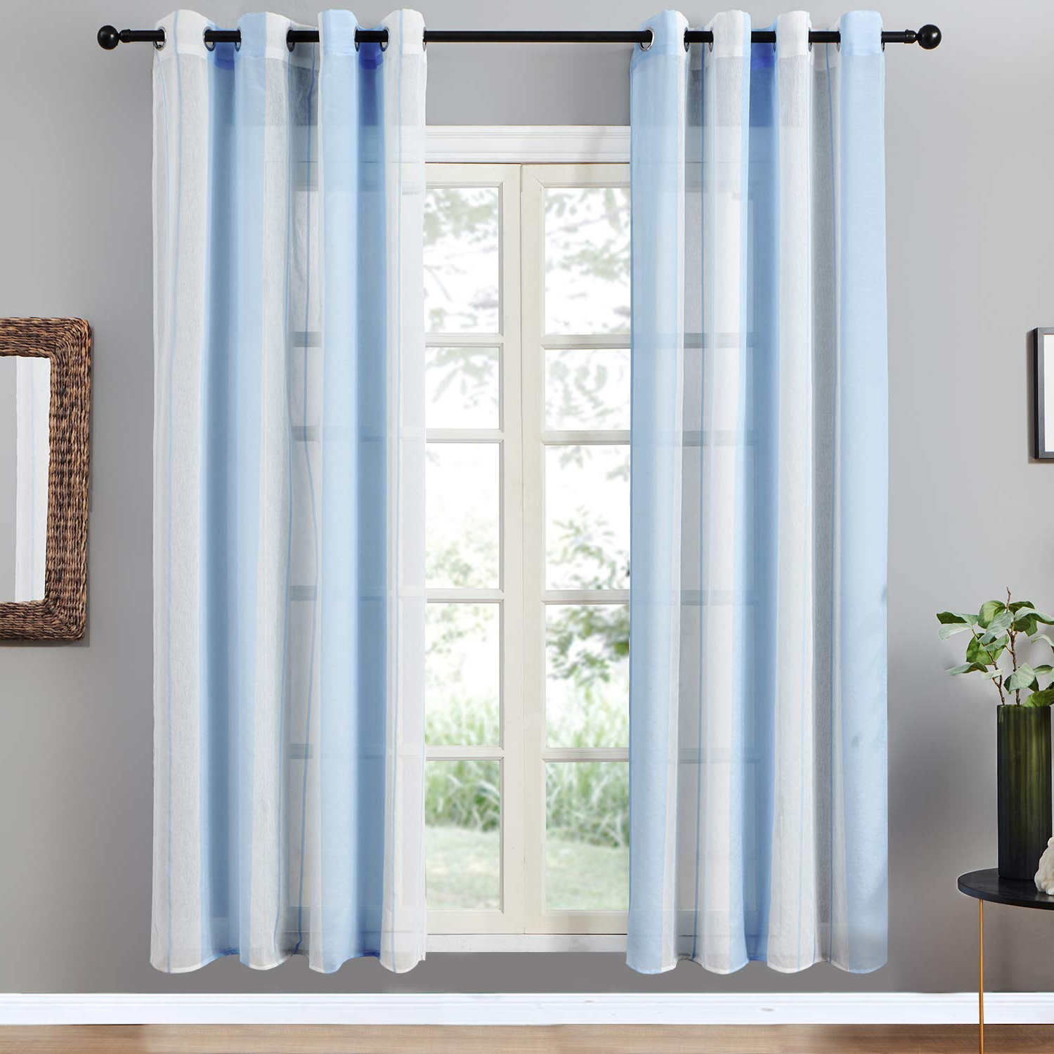 Most Current Top Finel Sheer Curtains 84 Inches Long For Bedroom Living Room Blue  Vertical Striped Grommet Yarn Dyed Window Curtains, 2 Panels With Ombre Stripe Yarn Dyed Cotton Window Curtain Panel Pairs (Gallery 6 of 20)