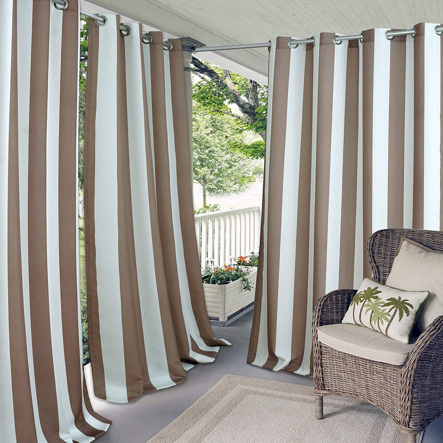 "Most Current Valencia Cabana Stripe Indoor/outdoor Curtain Panels In Elrene Home Fashions Aiden Indoor/outdoor Cabana Stripe Grommet Top Single Panel Window Curtain Drape, 50"" X 108"" (1), Natural (View 13 of 20)"