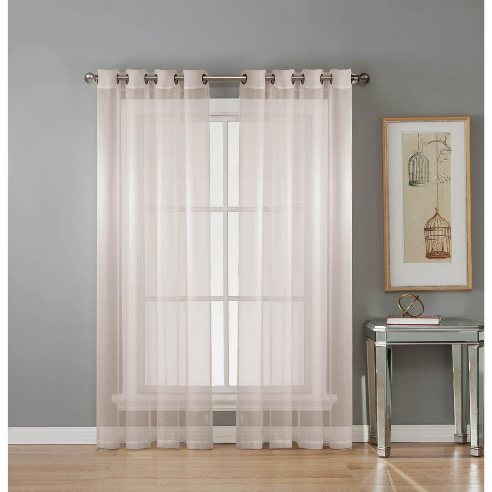 Most Current Window Elements Sheer Diamond Sheer Voile White Grommet Extra Wide Curtain Panel, 56 In. W X 84 In (View 2 of 20)