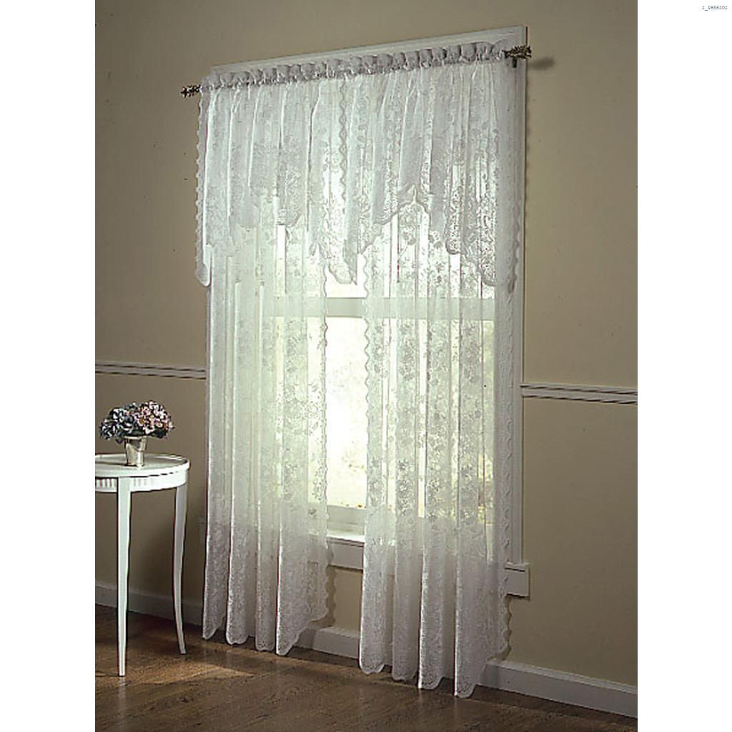 "Most Popular 58"" X 32"" Alison Valance With Alison Rod Pocket Lace Window Curtain Panels (Gallery 14 of 20)"
