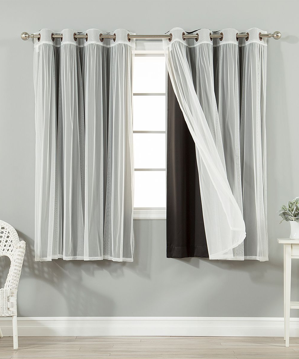 Most Popular Black Tulle Blackout Short Curtain Panel – Set Of Four Inside Tulle Sheer With Attached Valance And Blackout 4 Piece Curtain Panel Pairs (View 17 of 20)