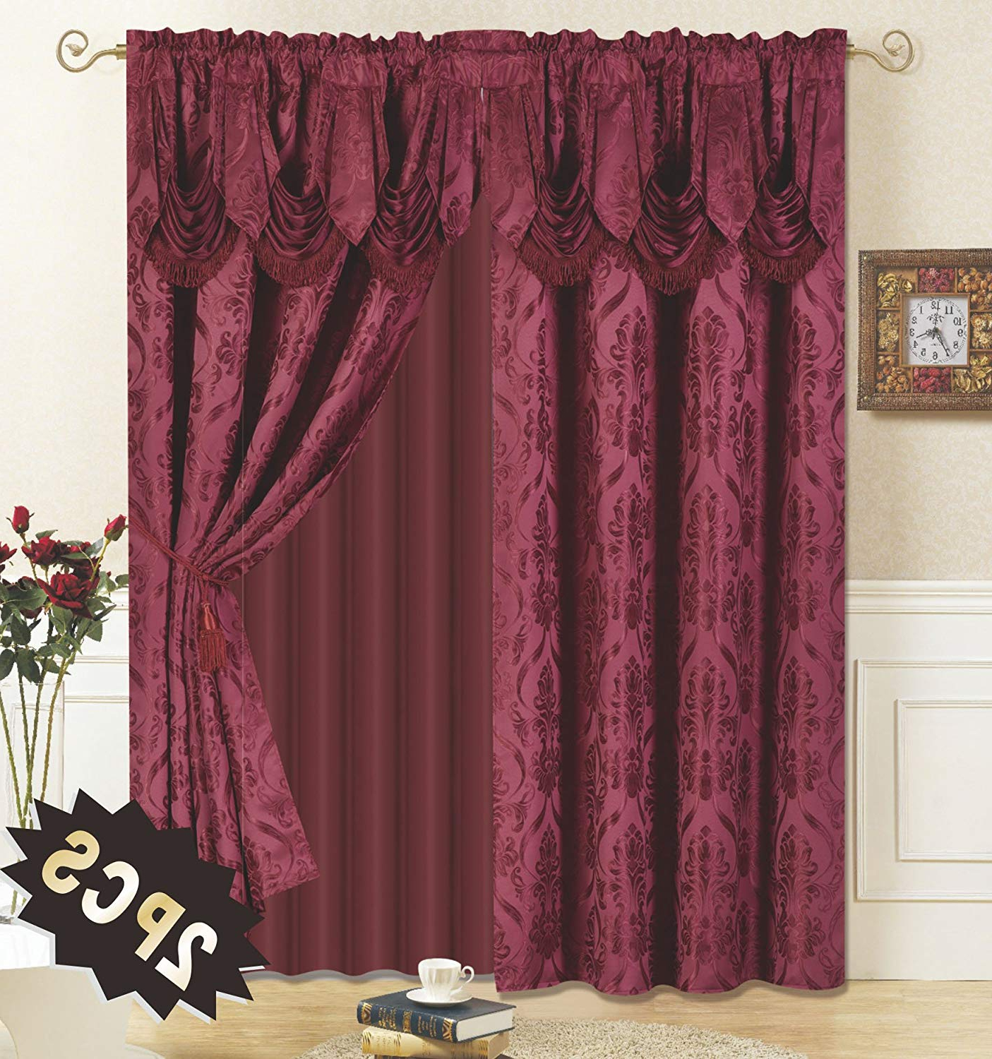 Most Popular Burgundy Bedding Curtains – Recipes With More With Elegant Comfort Luxury Penelopie Jacquard Window Curtain Panel Pairs (Gallery 16 of 20)