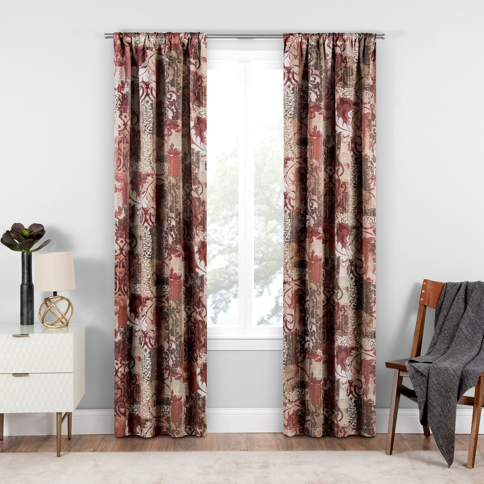Most Popular Chiswick Blackout Window Curtain Tuscan/patchwork/floral For Tuscan Thermal Backed Blackout Curtain Panel Pairs (View 8 of 20)