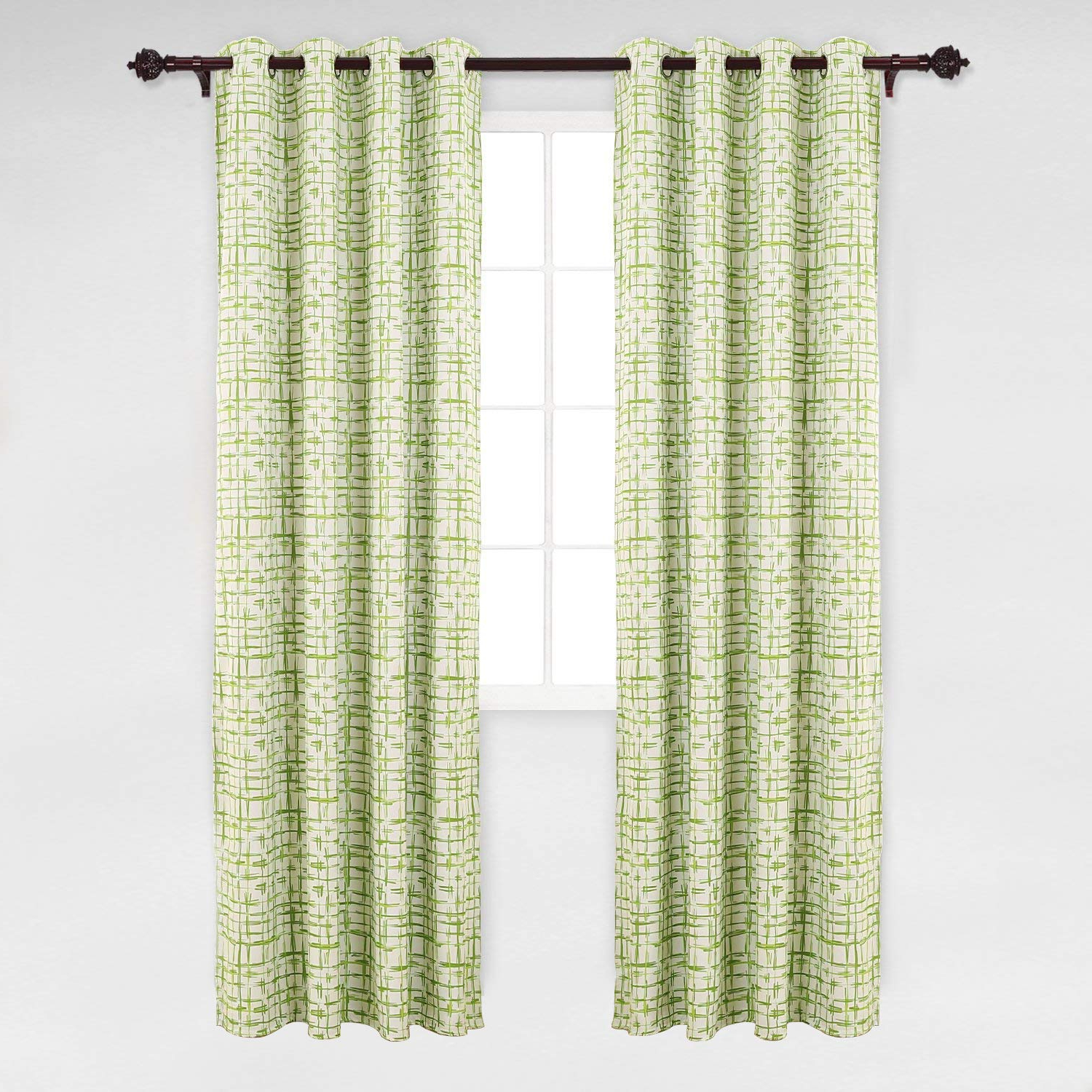 Most Popular Deconovo Abstract Rectangular Print Window Curtain Panel Rod Pocket Thermal  Blackout Window Curtains For Dining Room 52W X 95L Green 1 Pair In Abstract Blackout Curtain Panel Pairs (Gallery 20 of 20)