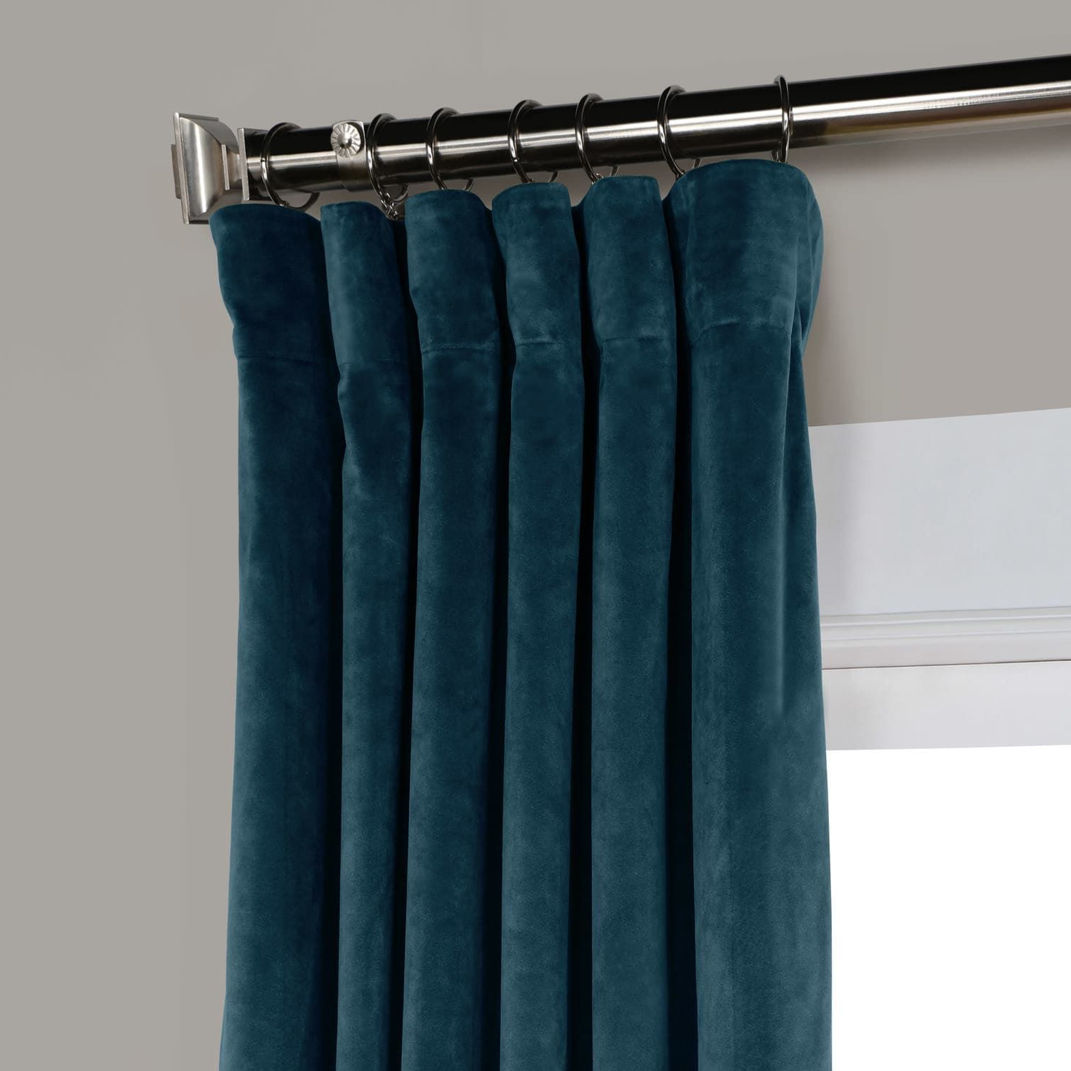 Most Popular Deep Sea Teal Heritage Plush Velvet Curtain (Gallery 17 of 20)
