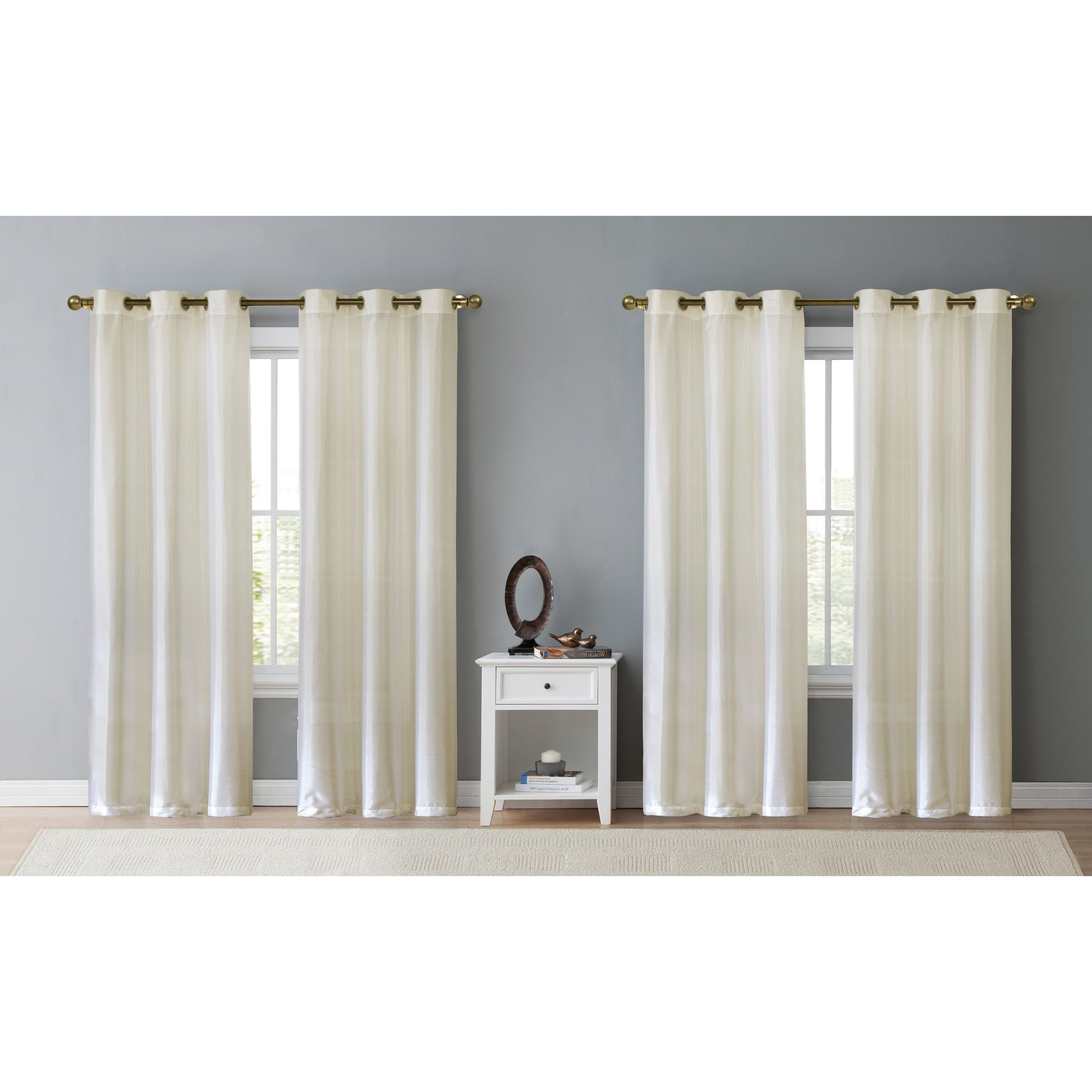 Most Popular Details About Copper Grove Chausy Faux Silk Grommet Panel (set Of 4) Throughout Copper Grove Fulgence Faux Silk Grommet Top Panel Curtains (View 17 of 20)