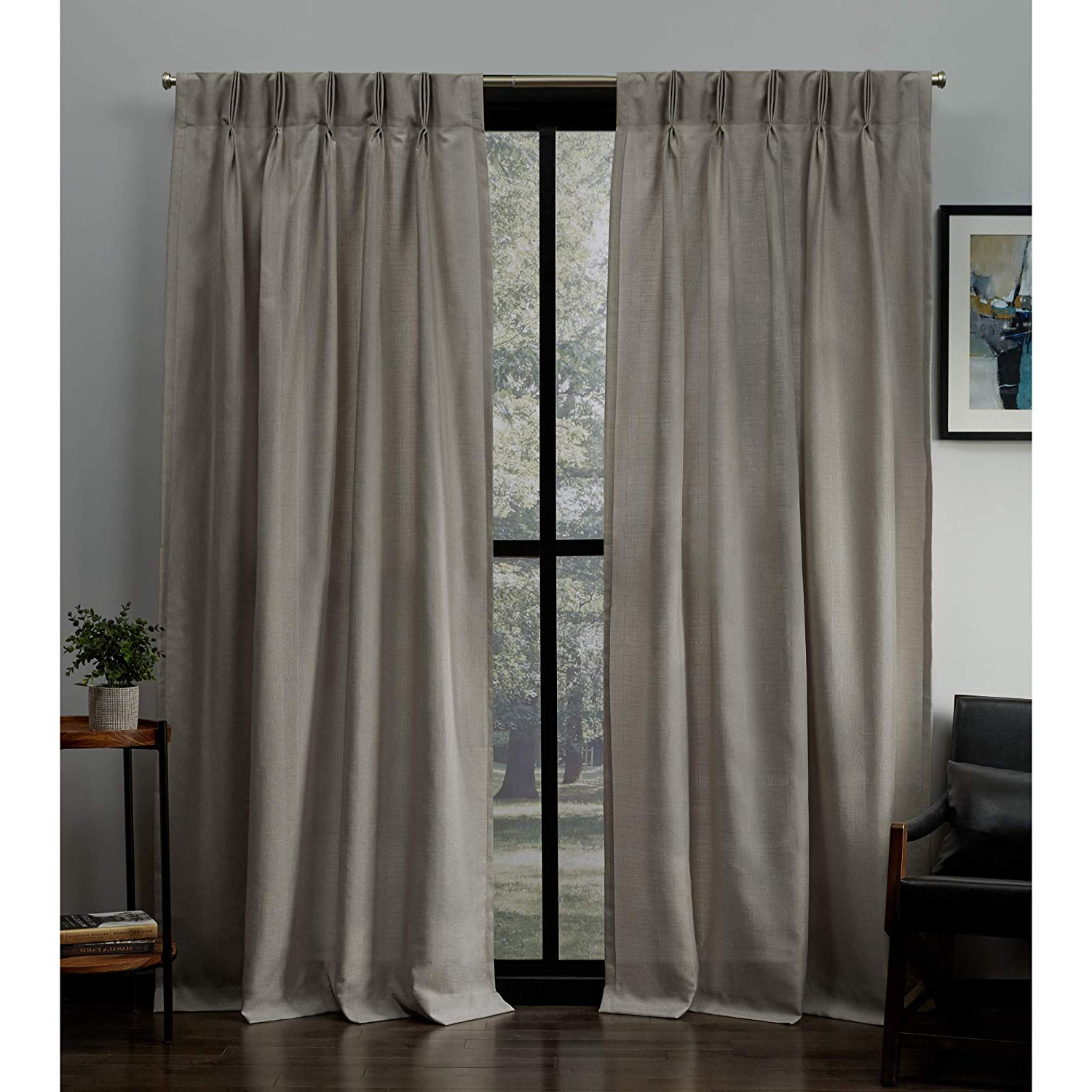 Most Popular Double Pinch Pleat Top Curtain Panel Pairs In Exclusive Home Loha Linen Pinch Pleat Curtain Panel Pair, Beige (View 6 of 20)