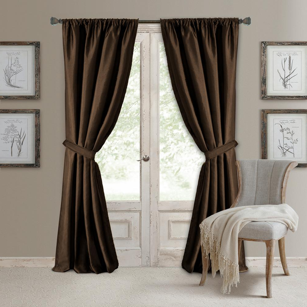 Most Popular Elrene Versailles Faux Silk Blackout Window Curtain Inside Luxury Collection Faux Leather Blackout Single Curtain Panels (View 11 of 20)