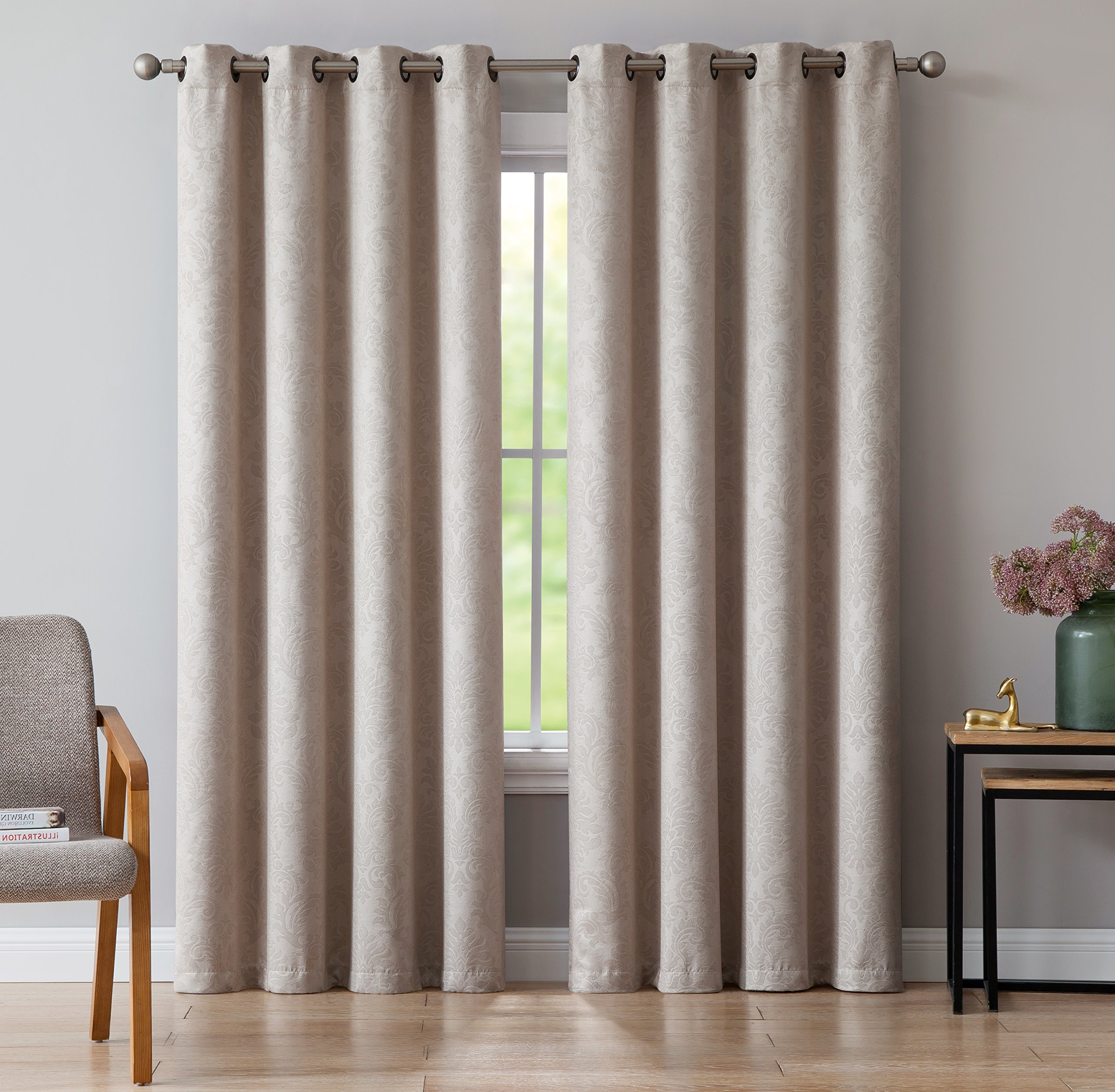 Most Popular Embossed Thermal Weaved Blackout Grommet Drapery Curtains Inside Details About Evelyn – Embossed Thermal Weaved Blackout Curtain With 8 Grommets – Room (Gallery 2 of 20)