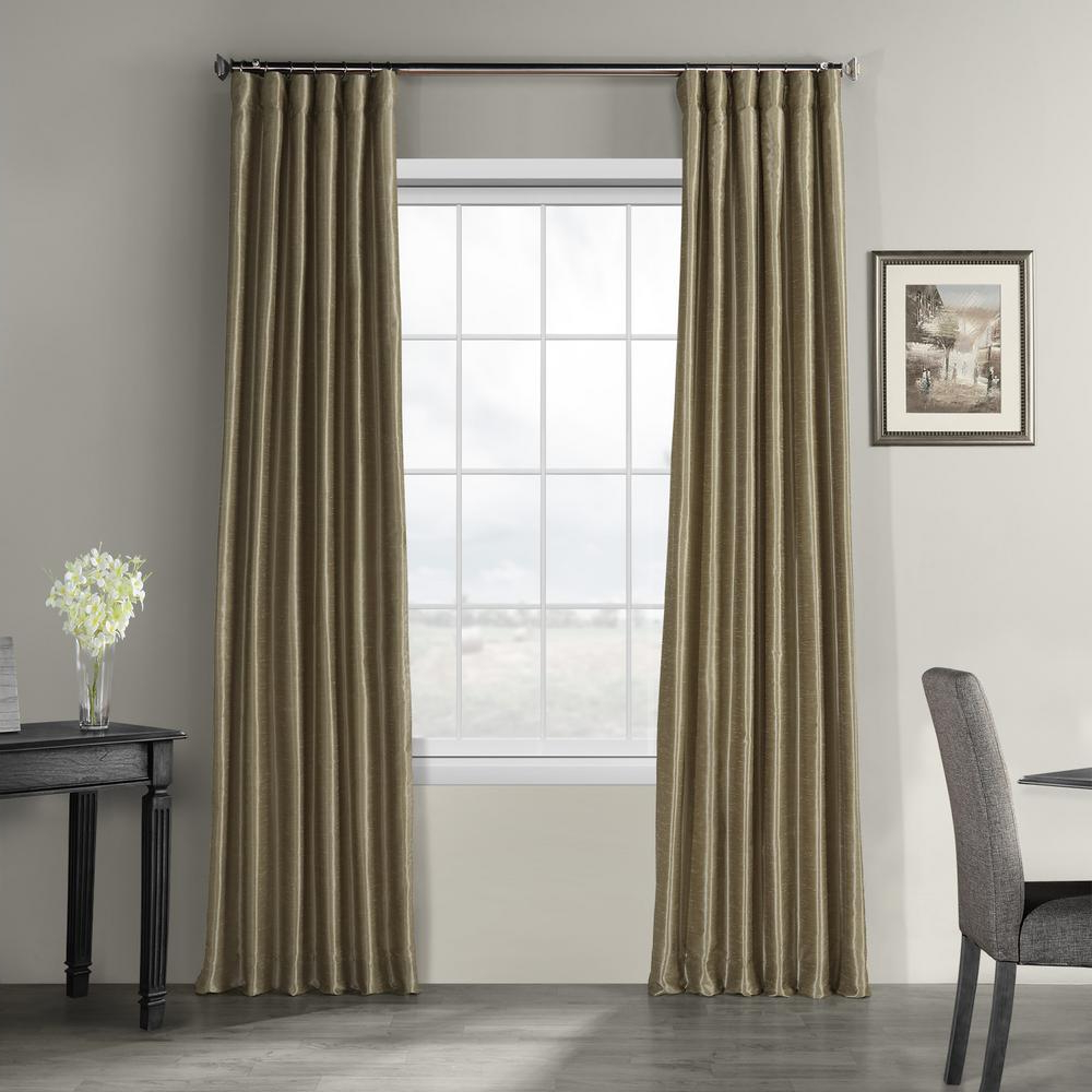 Most Popular Exclusive Fabrics & Furnishings Warm Stone Brown Vintage Textured Faux Dupioni Silk Light Filtering Curtain – 50 In. W X 84 In (View 16 of 20)