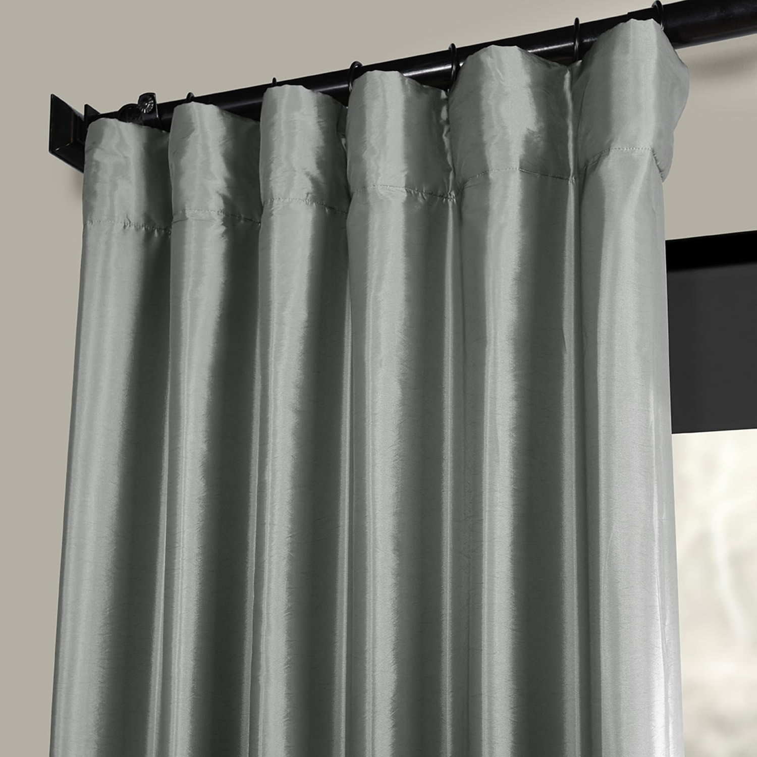 Most Popular Exclusive Fabrics Solid Faux Silk Taffeta Platinum Single Curtain Panel Intended For Solid Faux Silk Taffeta Graphite Single Curtain Panels (View 20 of 20)