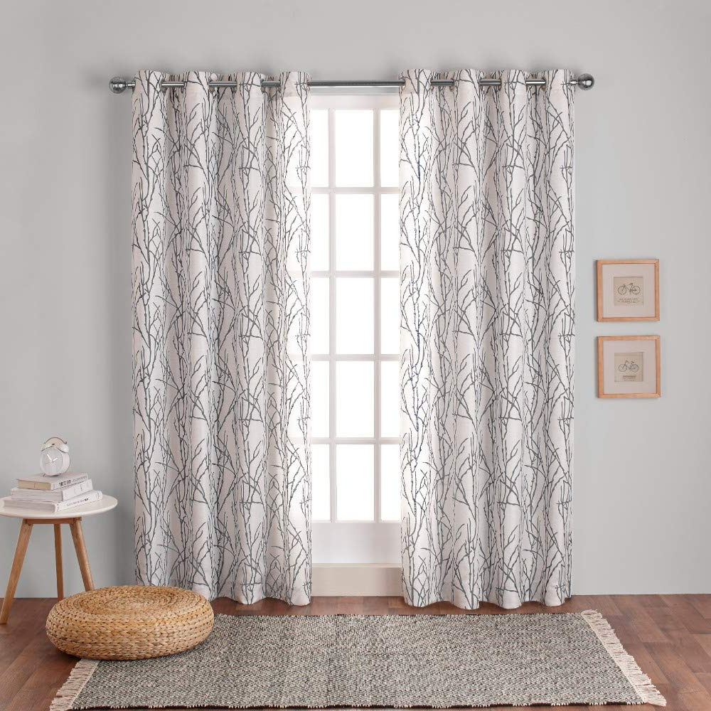 Most Popular Exclusive Home Curtains Branches Linen Blend Window Curtain Panel Pair With Grommet Top, 54x96, Black Pearl, 2 Piece Intended For Kochi Linen Blend Window Grommet Top Curtain Panel Pairs (View 20 of 20)