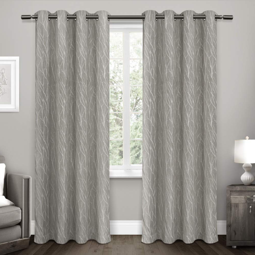 Most Popular Exclusive Home Curtains Forest Hill Woven Window Curtain Panel Pair With Grommet Top, 52x84, Ash Grey, 2 Piece With Regard To Easton Thermal Woven Blackout Grommet Top Curtain Panel Pairs (View 12 of 20)