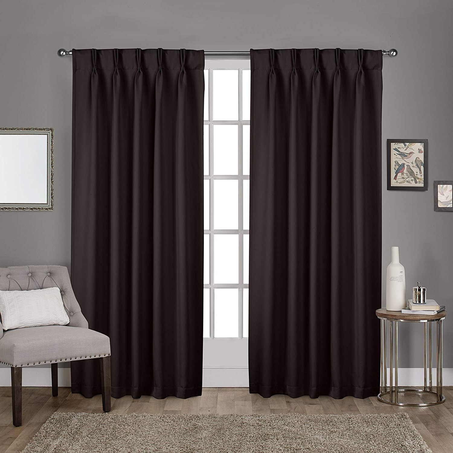Most Popular Exclusive Home Curtains Sateen Pinch Pleat Woven Blackout Back Tab Window Curtain Panel Pair, Espresso, 52x96 With Regard To Sateen Woven Blackout Curtain Panel Pairs With Pinch Pleat Top (View 2 of 20)