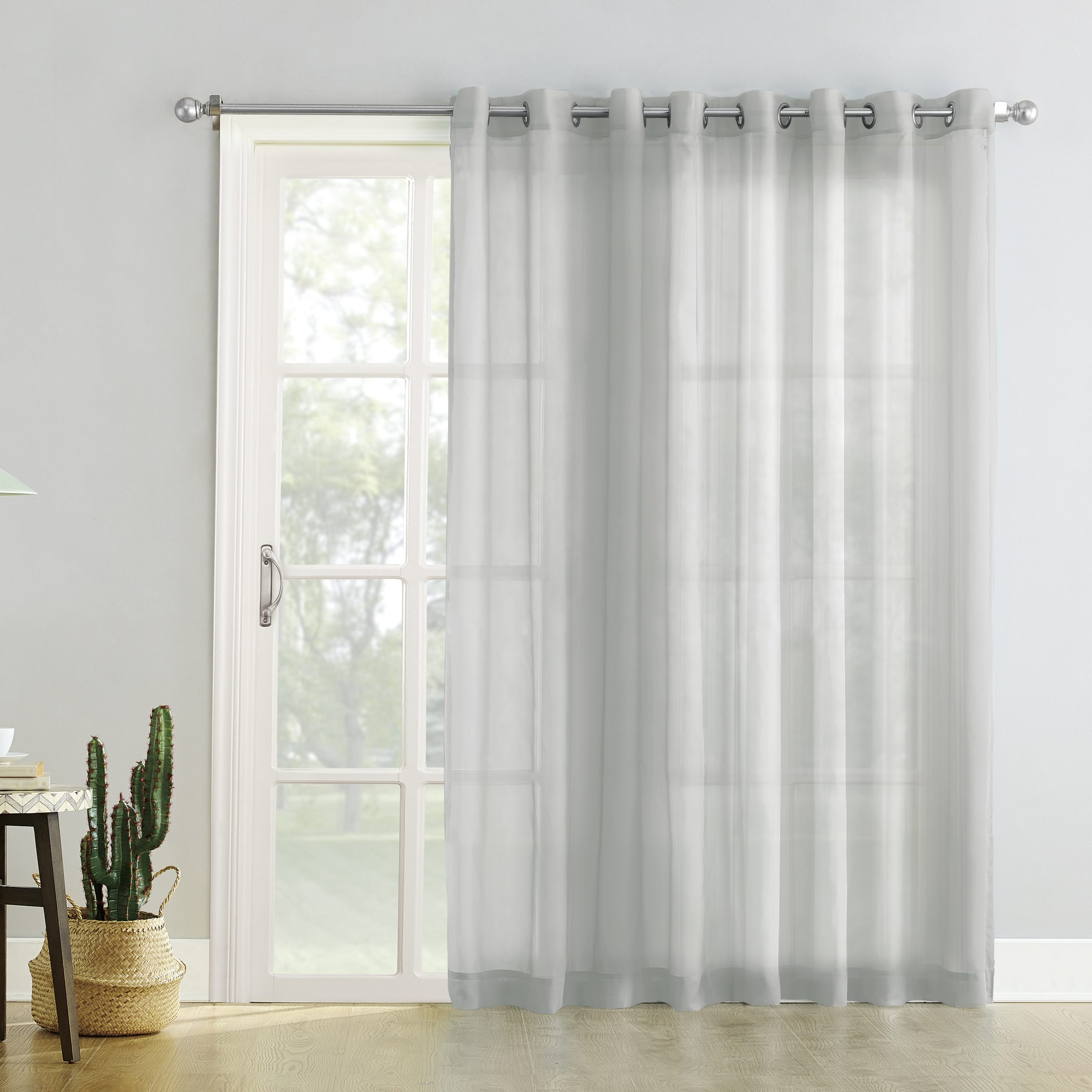 Most Popular Extra Wide White Voile Sheer Curtain Panels Within No. 918 Emily Extra Wide Sheer Voile Sliding Door Patio (Gallery 15 of 20)