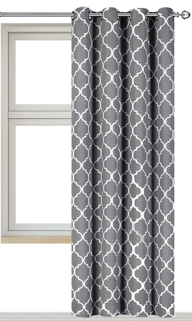 Most Popular Grey Printed Curtain Panels Within Printed Blackout Room Darkening Printed Curtains Window (View 14 of 20)