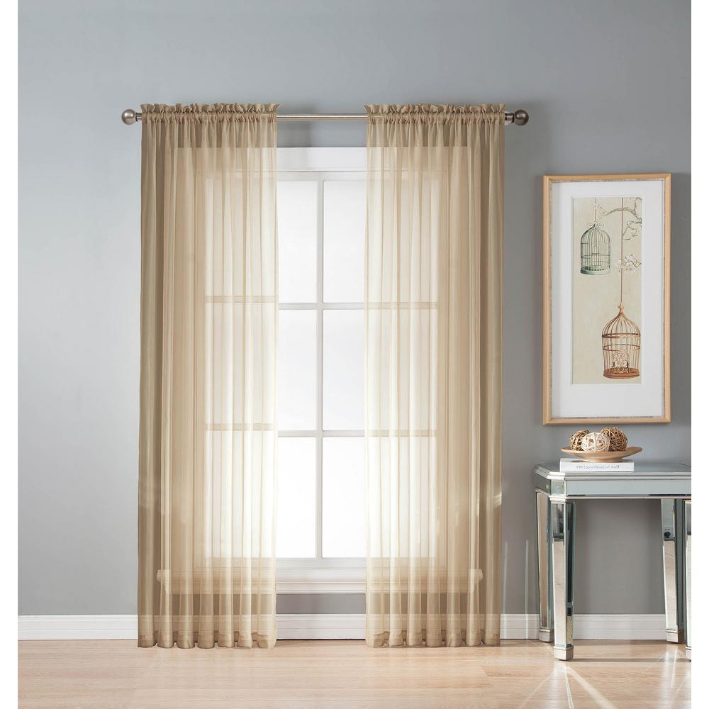 Most Popular Linen Button Window Curtains Single Panel With Regard To Window Elements Sheer Linen Solid Voile Extra Wide Sheer Rod Pocket Curtain Panel 54 In. W X 63 In (View 13 of 20)