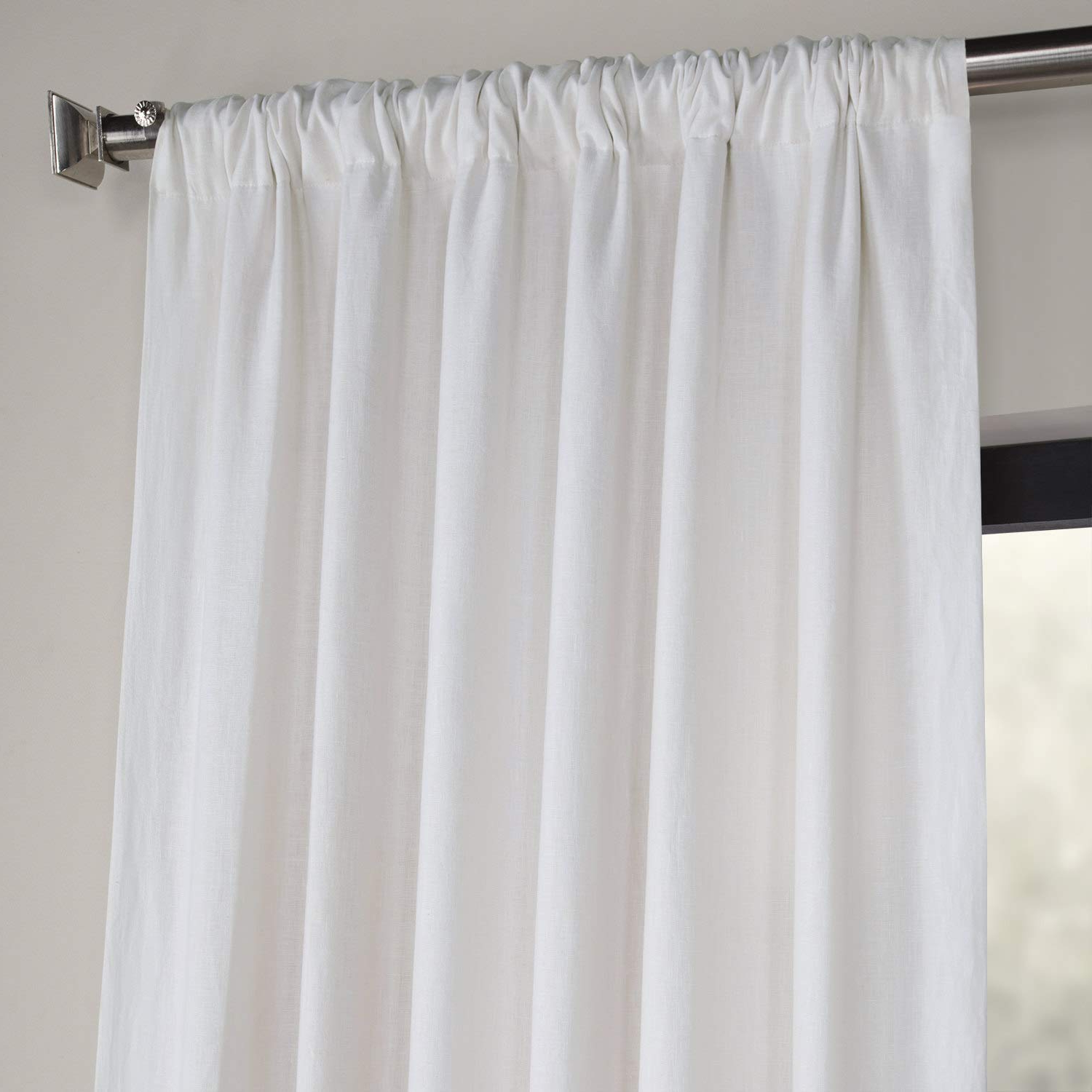 Most Popular Ln Xs1704 96 French Linen Curtain, Crisp White, 50 X 96 Throughout French Linen Lined Curtain Panels (View 15 of 20)