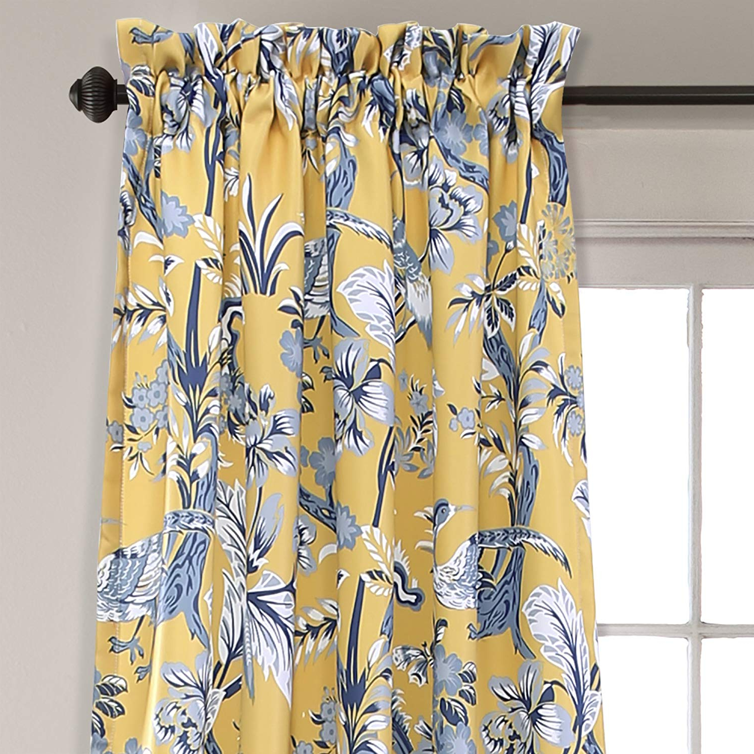"Most Popular Lush Decor Curtains Dolores Darkening Window Panel Set For Living, Dining Room, Bedroom (Pair), 84"" X 52"", Yellow In Dolores Room Darkening Floral Curtain Panel Pairs (Gallery 4 of 20)"