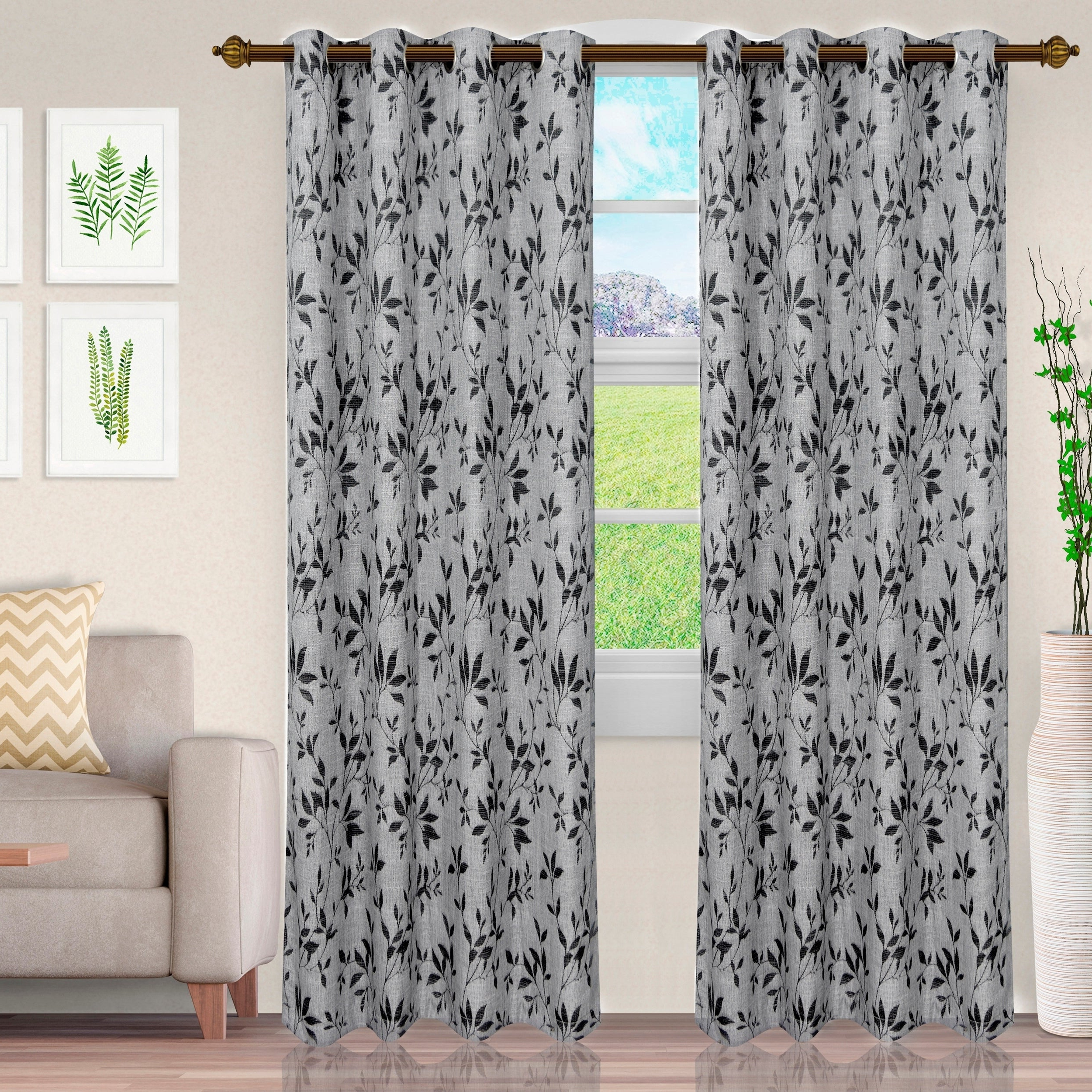 Most Popular Miranda Haus Labrea Damask Jacquard Grommet Curtain Panels Inside Miranda Haus Comera Jacquard Grommet Curtain Panel (set Of 2) (View 12 of 20)