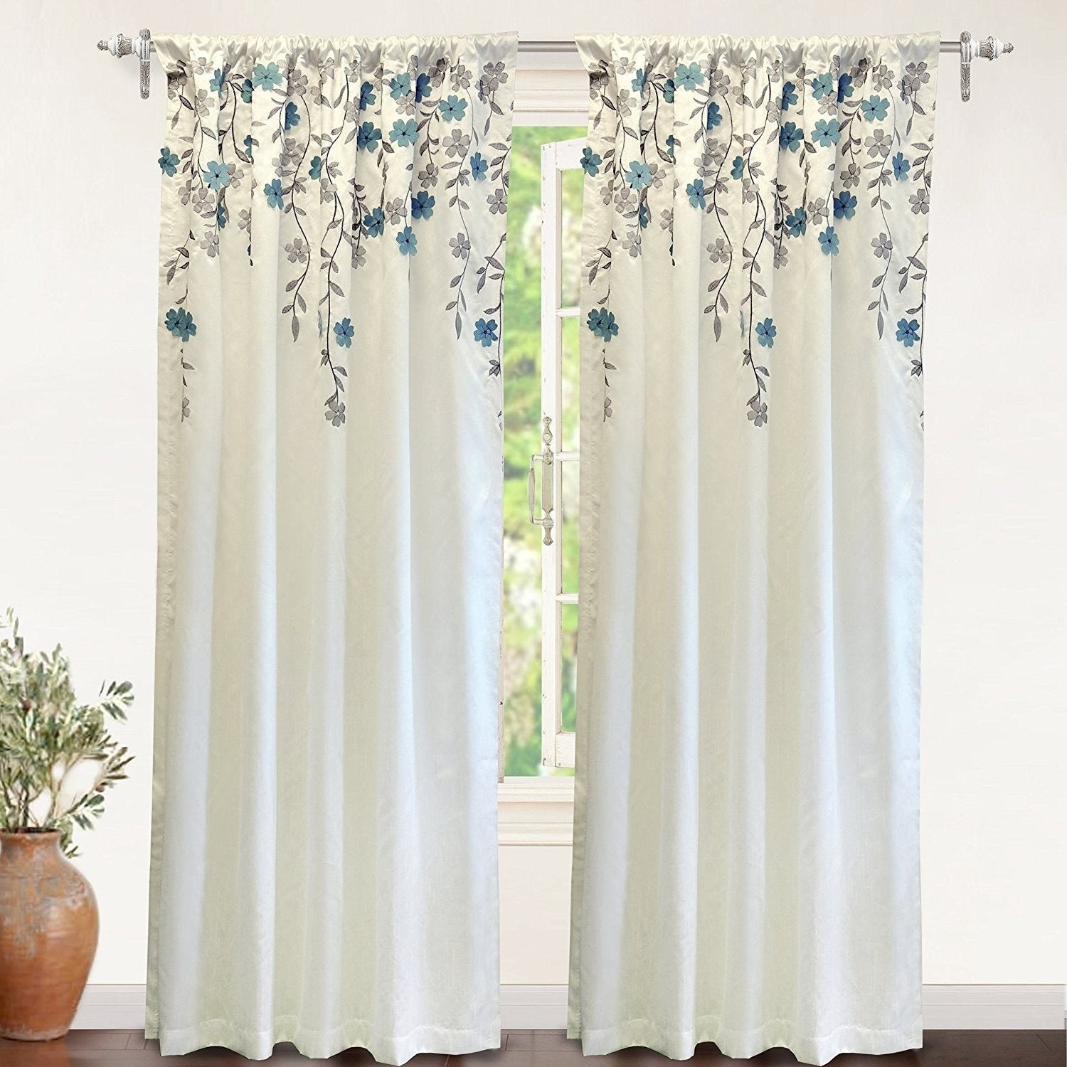 Most Popular Ofloral Embroidered Faux Silk Window Curtain Panels Inside Driftaway Isabella Faux Silk Lined Thermal Embroidered Crafted Flower Window Curtain Panel (View 5 of 20)