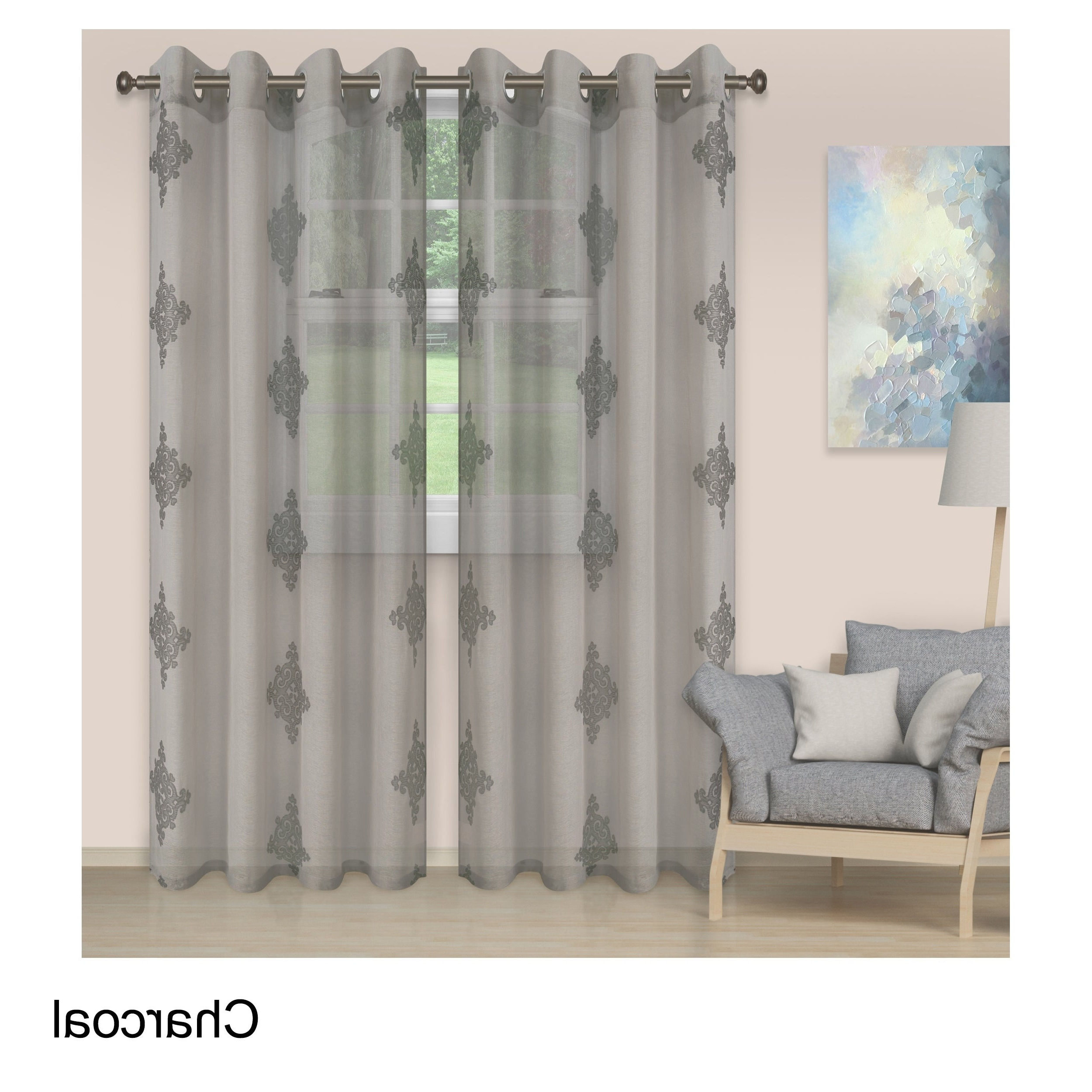 Most Popular Ombre Embroidery Curtain Panels Inside Details About Superior Embroidered Damask Sheer Grommet Curtain Panel Pair (View 6 of 20)